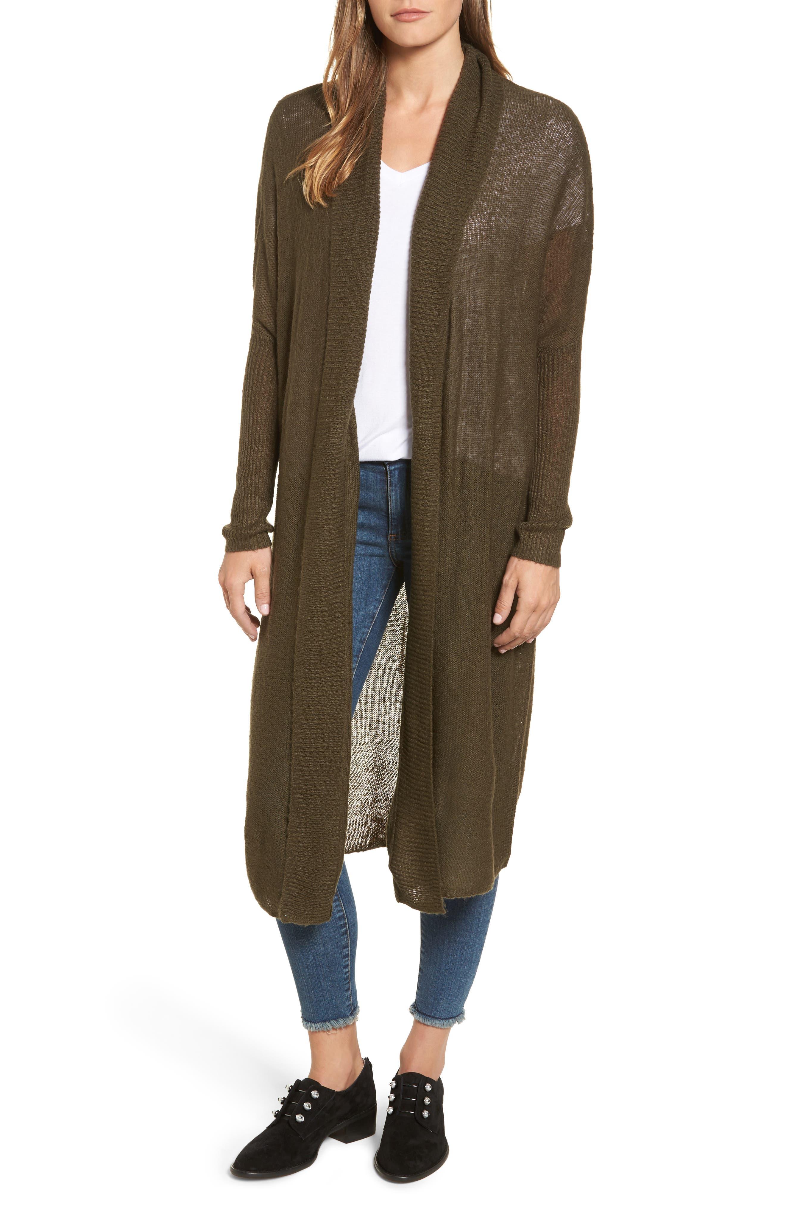 Tissue Knit Longline Cardigan,                         Main,                         color, Khaki