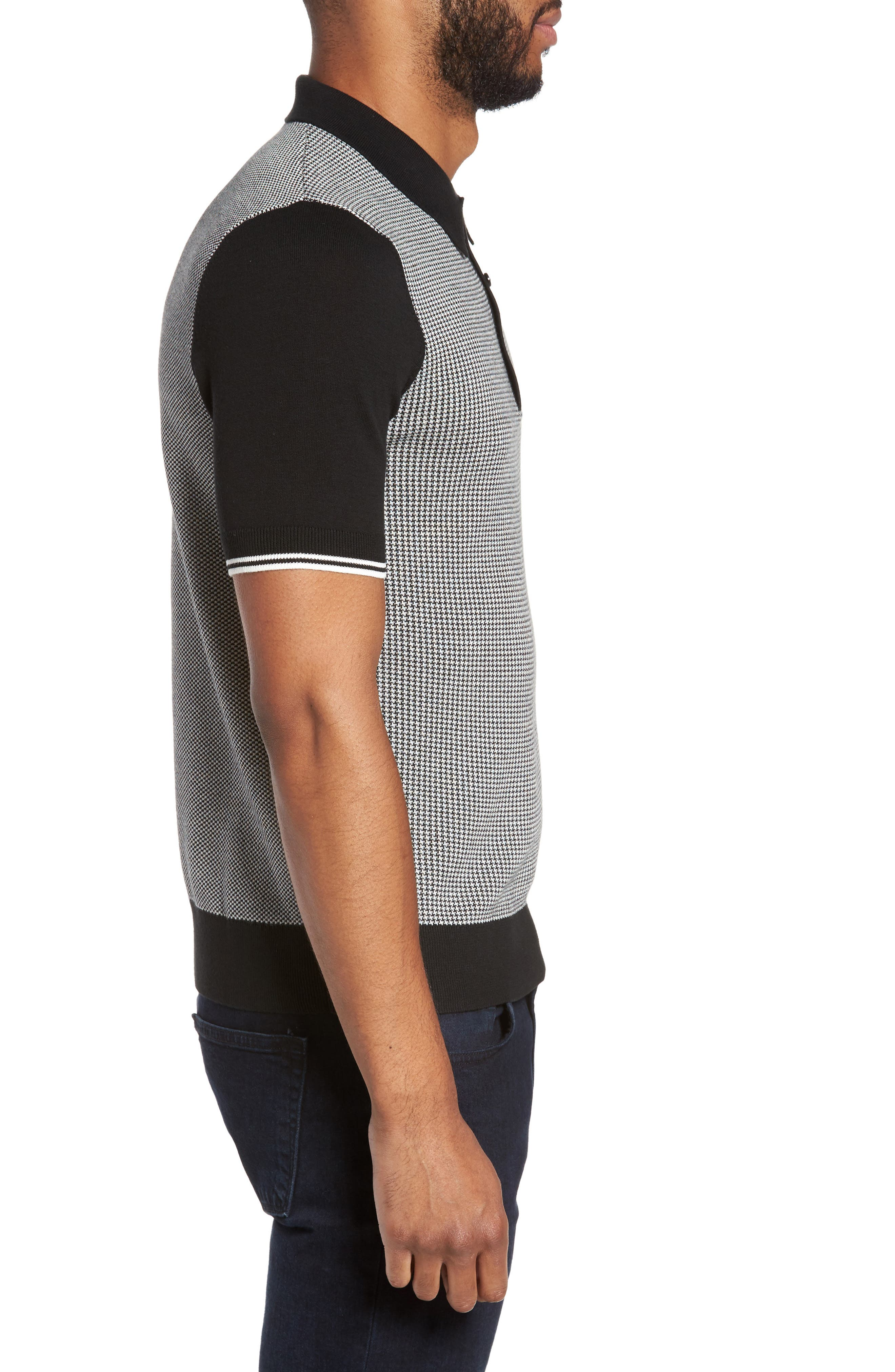 Houndstooth Knit Polo,                             Alternate thumbnail 3, color,                             Black