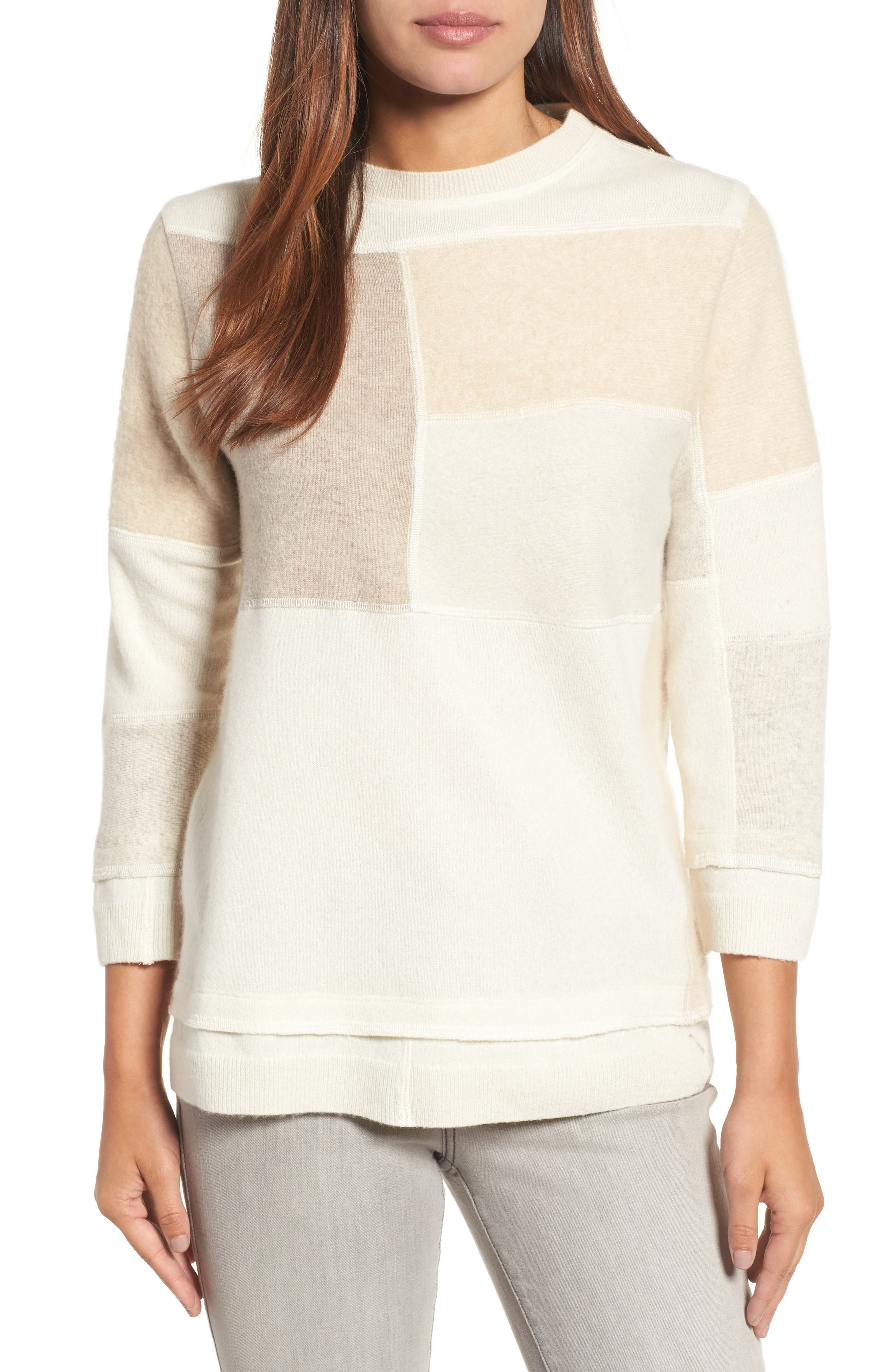 Main Image - Eileen Fisher Colorblock Cashmere Sweater (Nordstrom Exclusive)