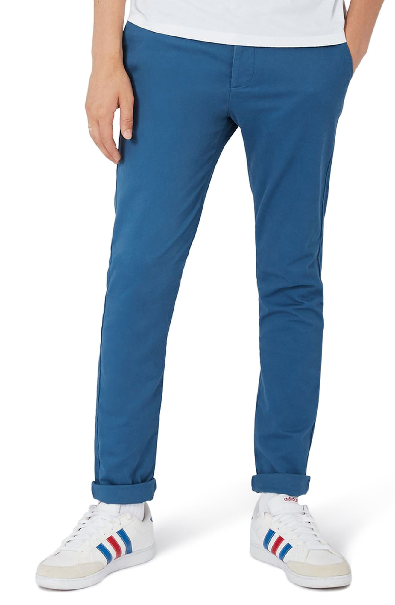 Skinny Fit Chinos,                         Main,                         color, Medium Blue