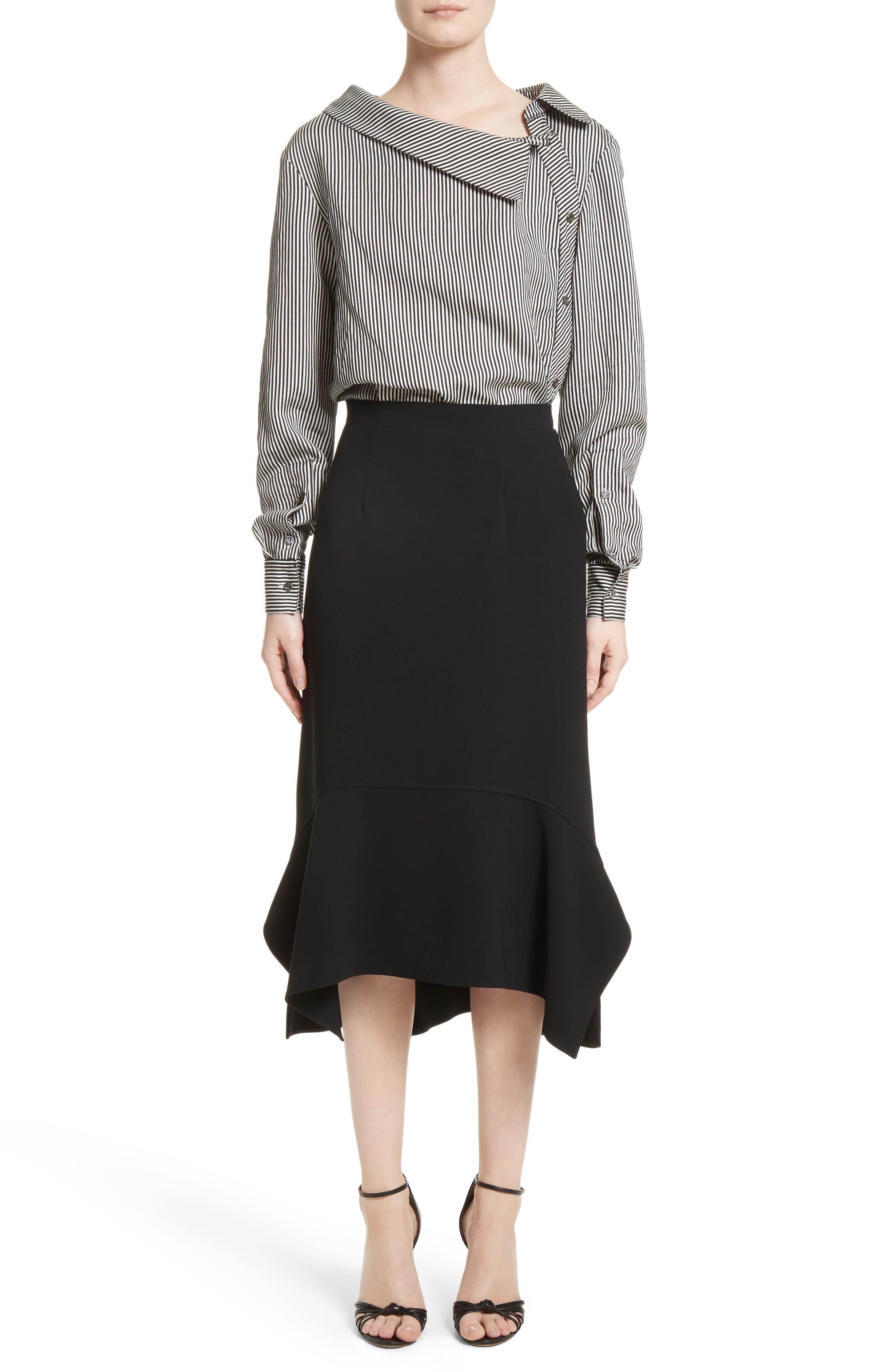 Drape Hem Midi Skirt,                             Alternate thumbnail 6, color,                             Black