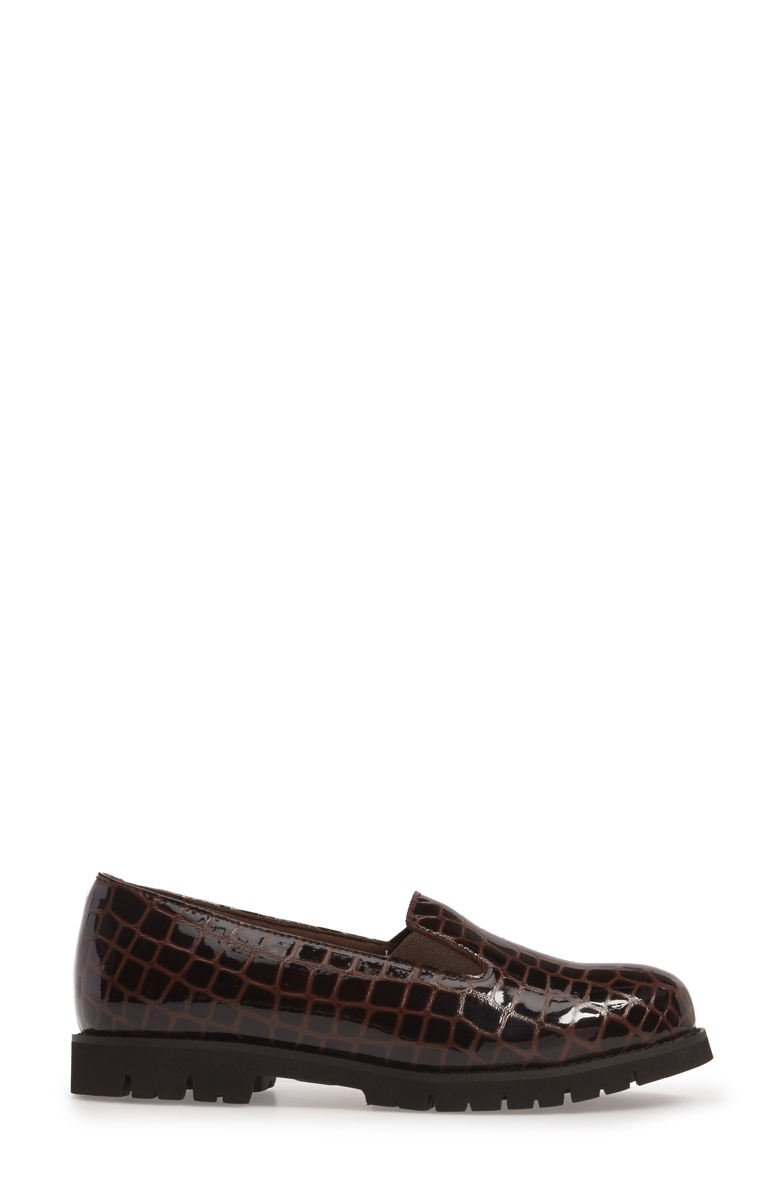 Pearl Loafer,                             Alternate thumbnail 3, color,                             Brown Patent Leather