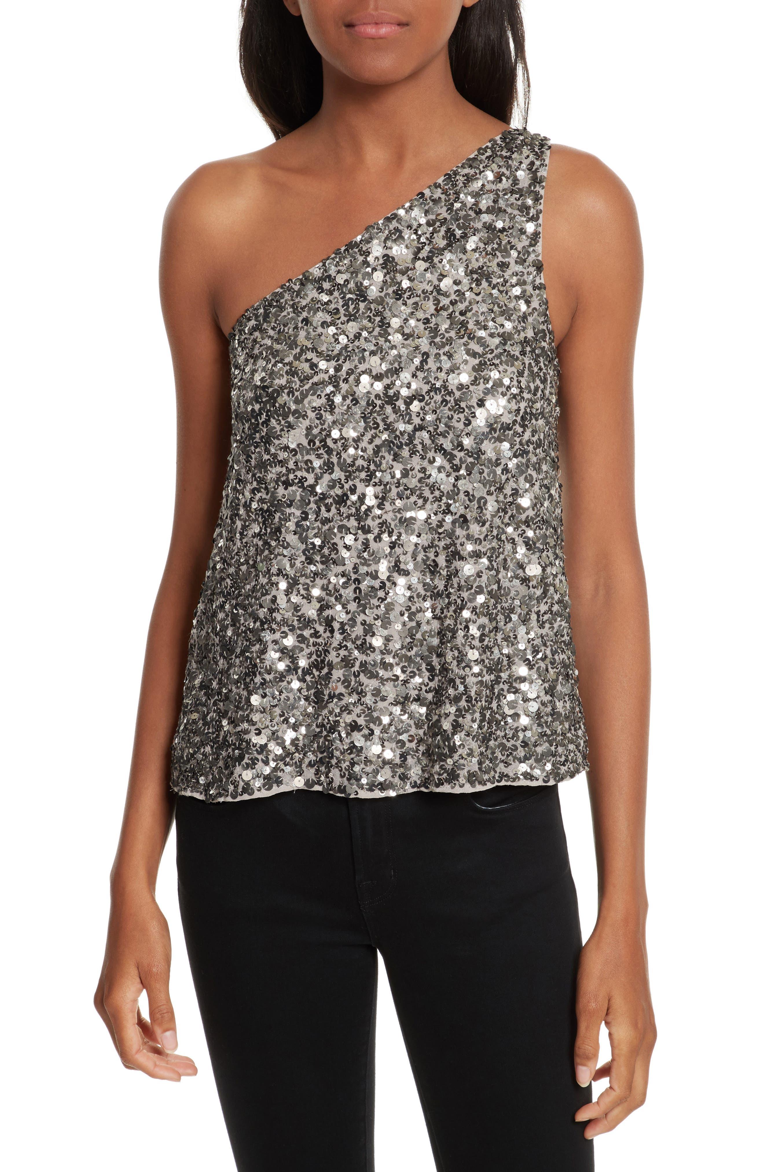 Main Image - Joie Hedra One-Shoulder Sequin Top