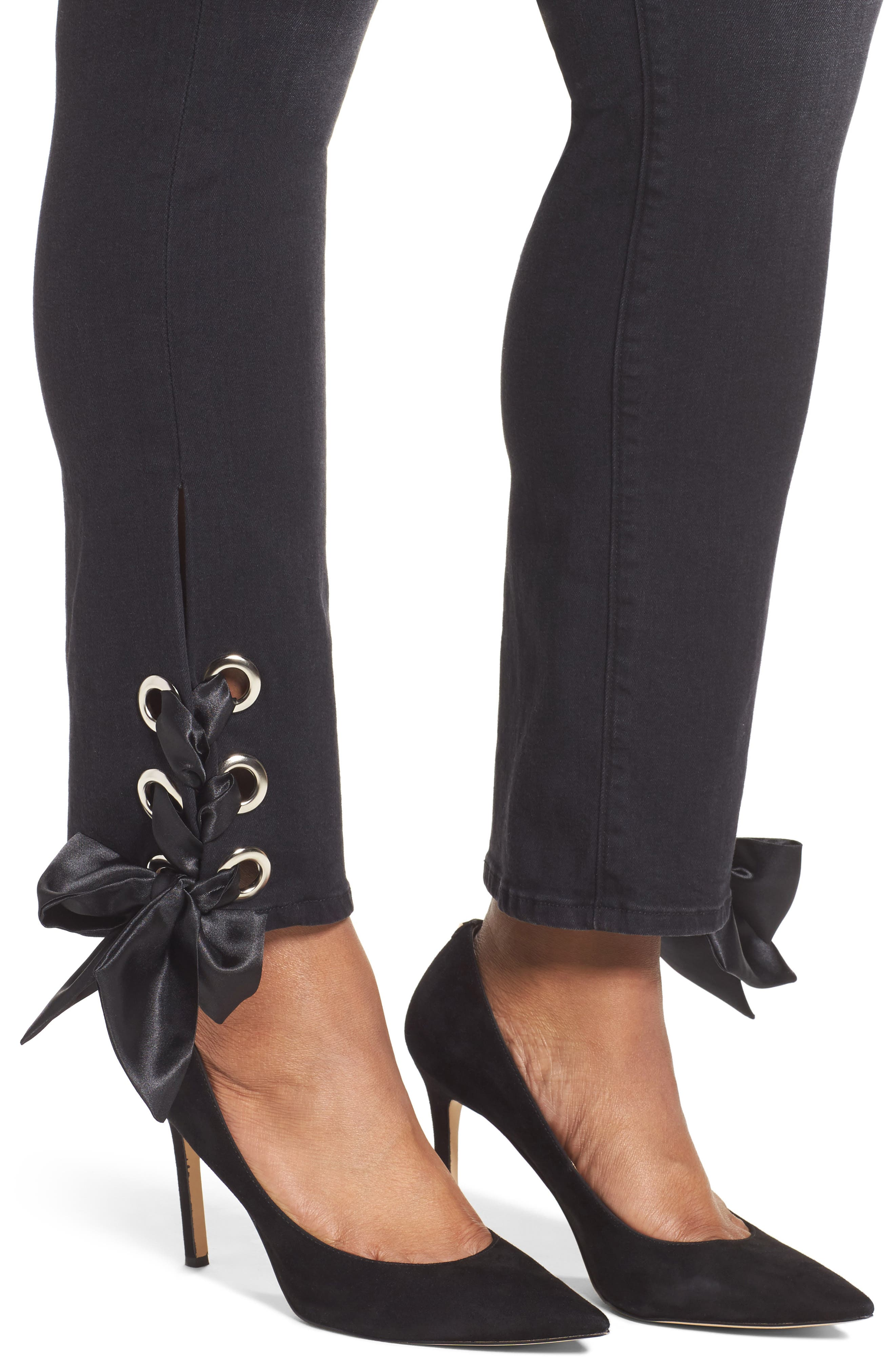 Alternate Image 6  - Good American Good Straight Ankle Lace Skinny Jeans (Black 010) (Extended Sizes)