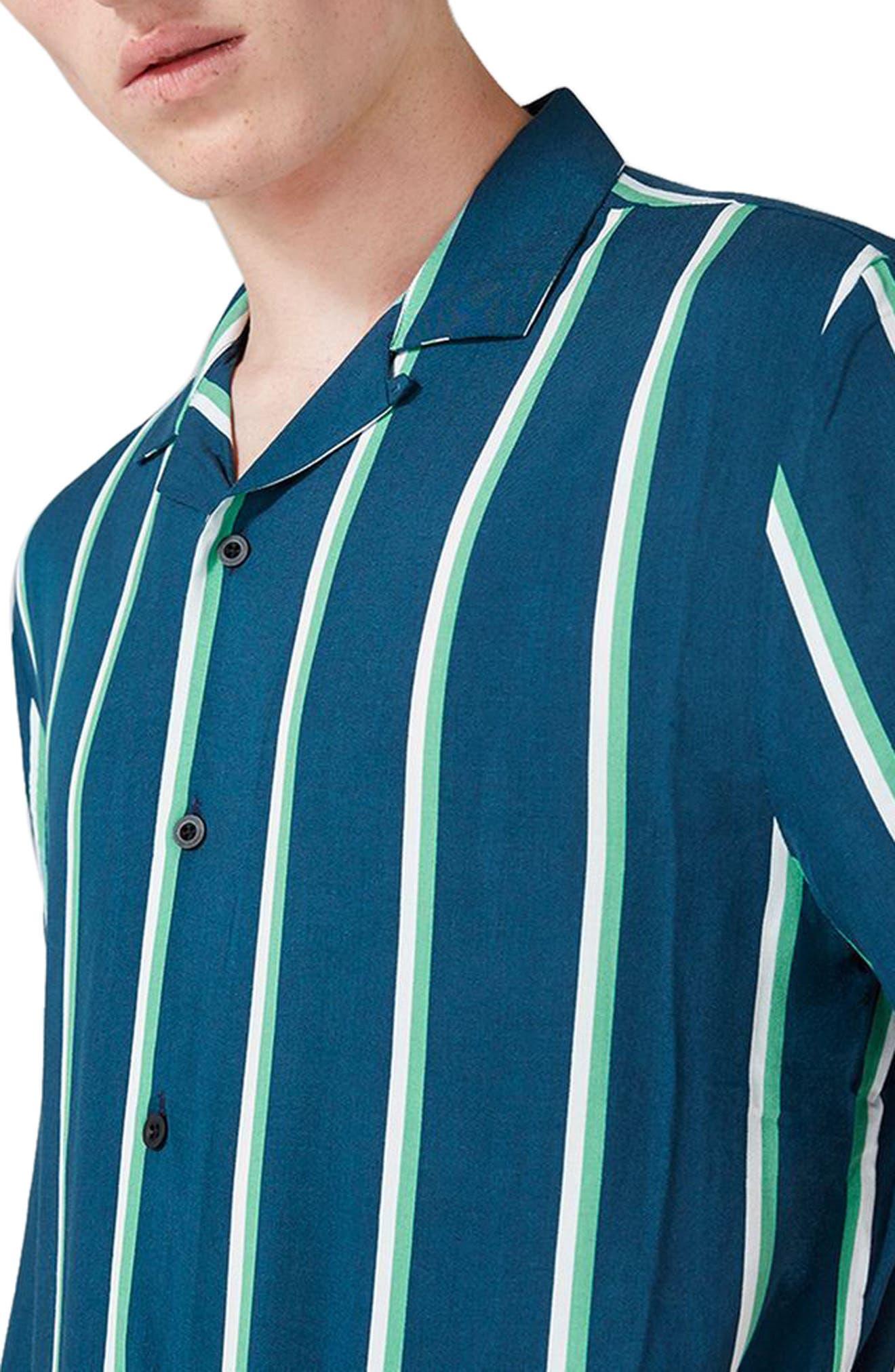Alternate Image 4  - Topman Stripe Revere Collar Shirt