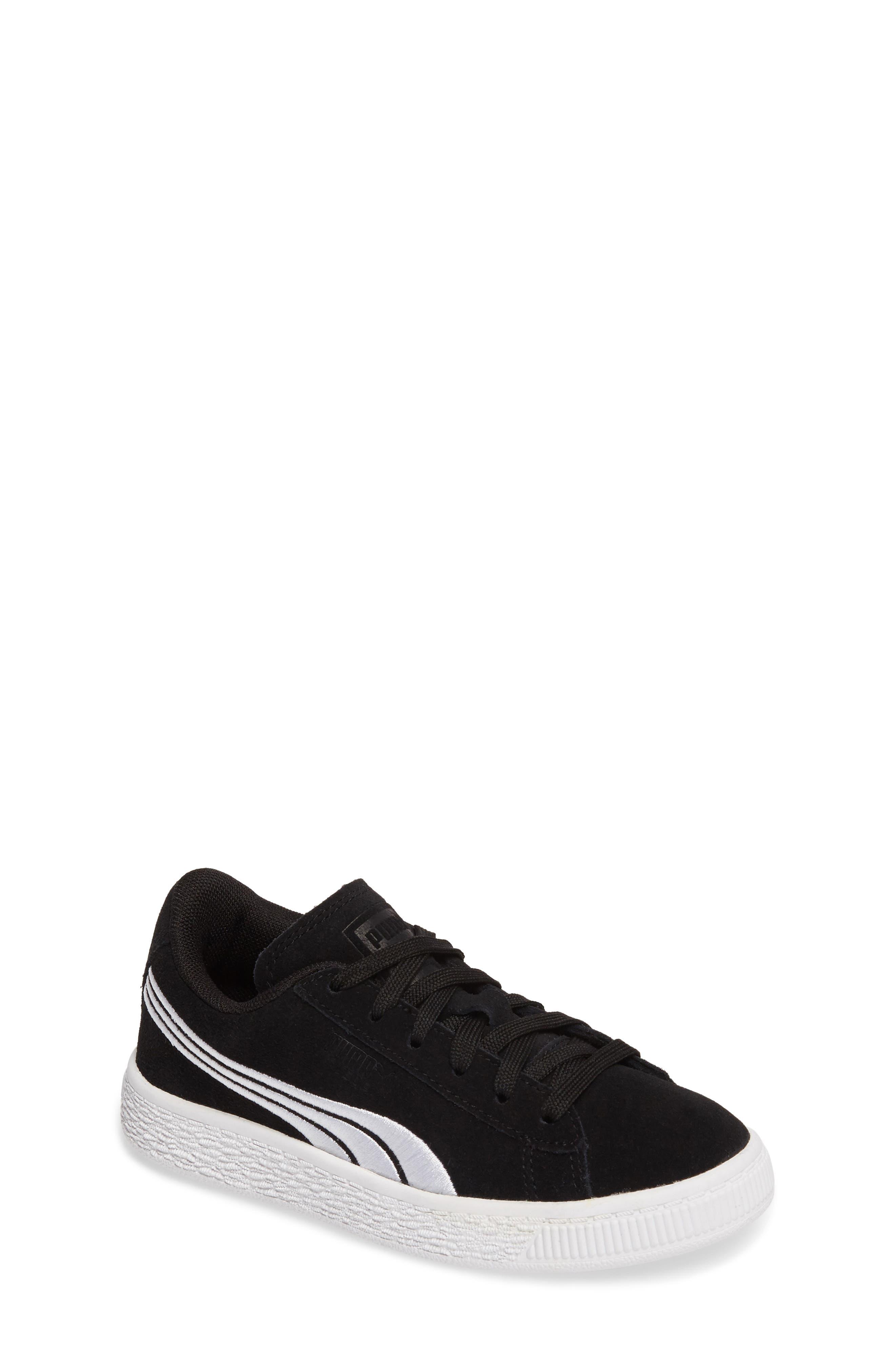 Suede Classic Badge Sneaker,                             Main thumbnail 1, color,                             Black