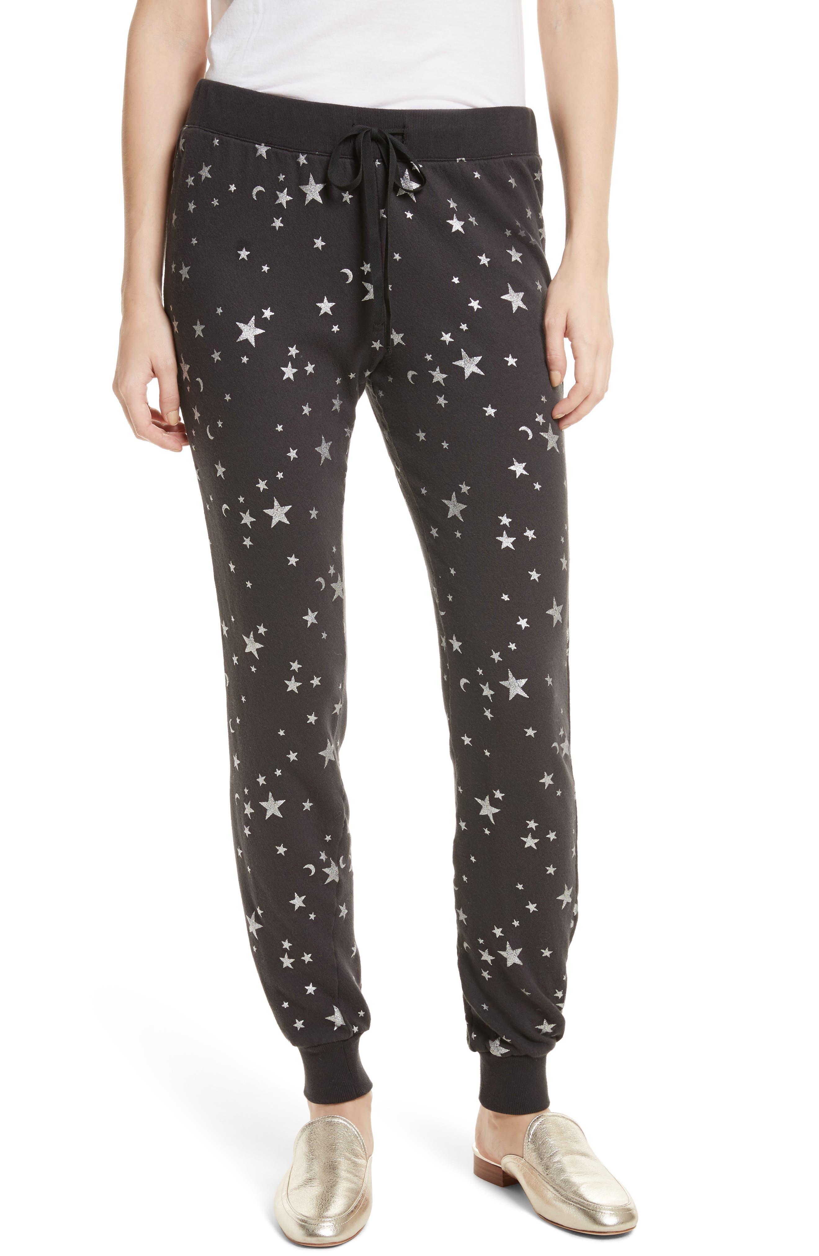 Tendra B Metallic Sweatpants,                             Main thumbnail 1, color,                             Silver Foil/ Caviar