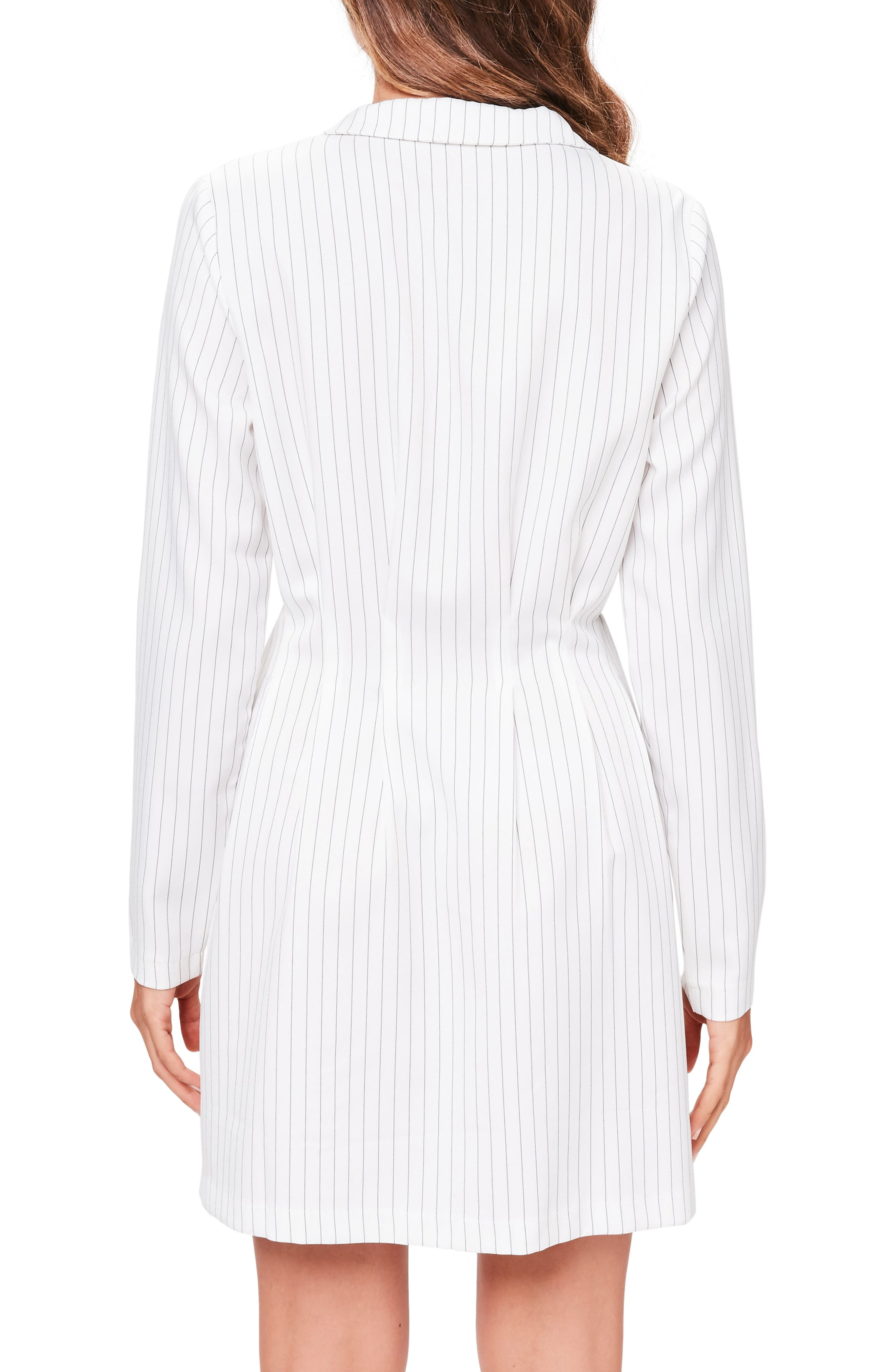 Pinstripe Blazer Dress,                             Alternate thumbnail 3, color,                             White