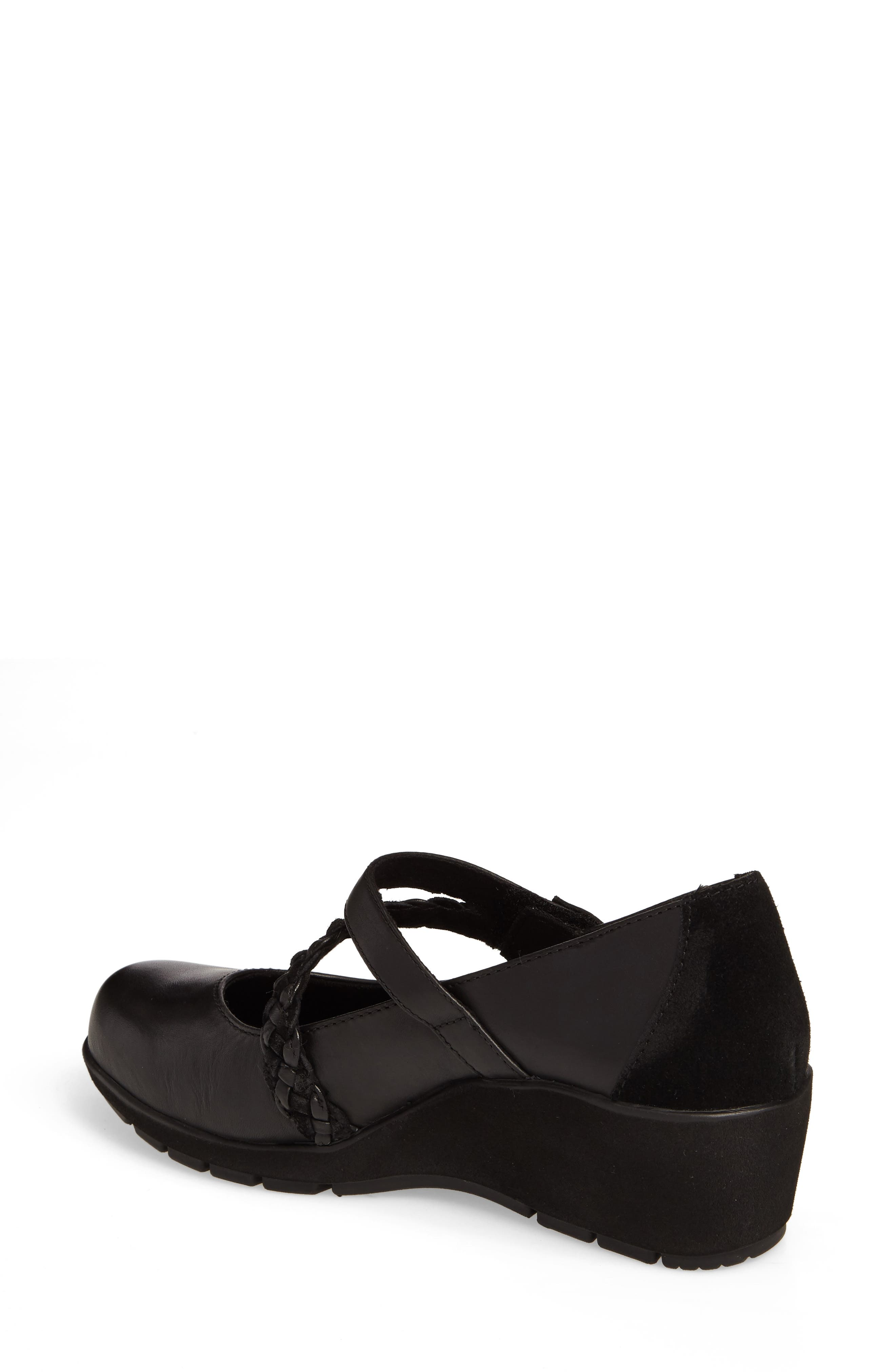 Ivy Mary Jane Wedge,                             Alternate thumbnail 2, color,                             Black Leather