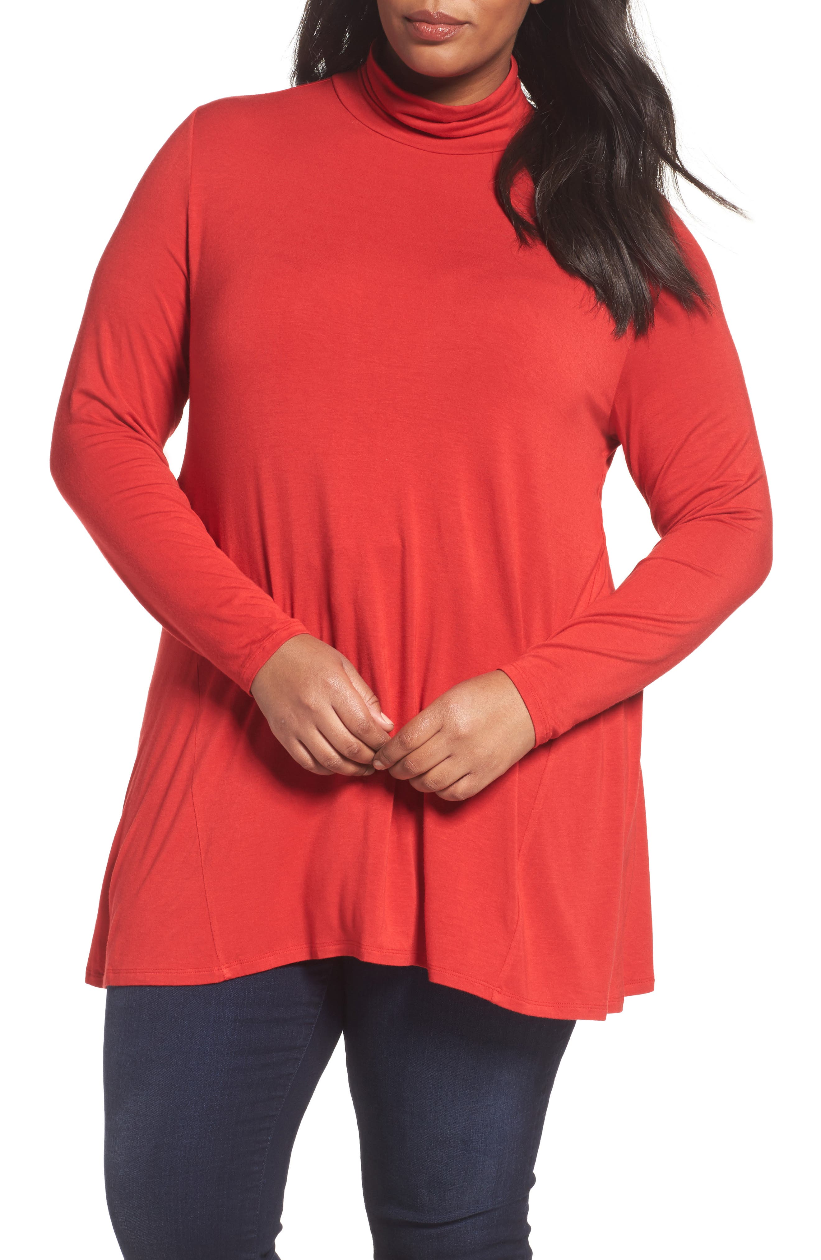 Swing Turtleneck Tunic,                         Main,                         color, Red Sage
