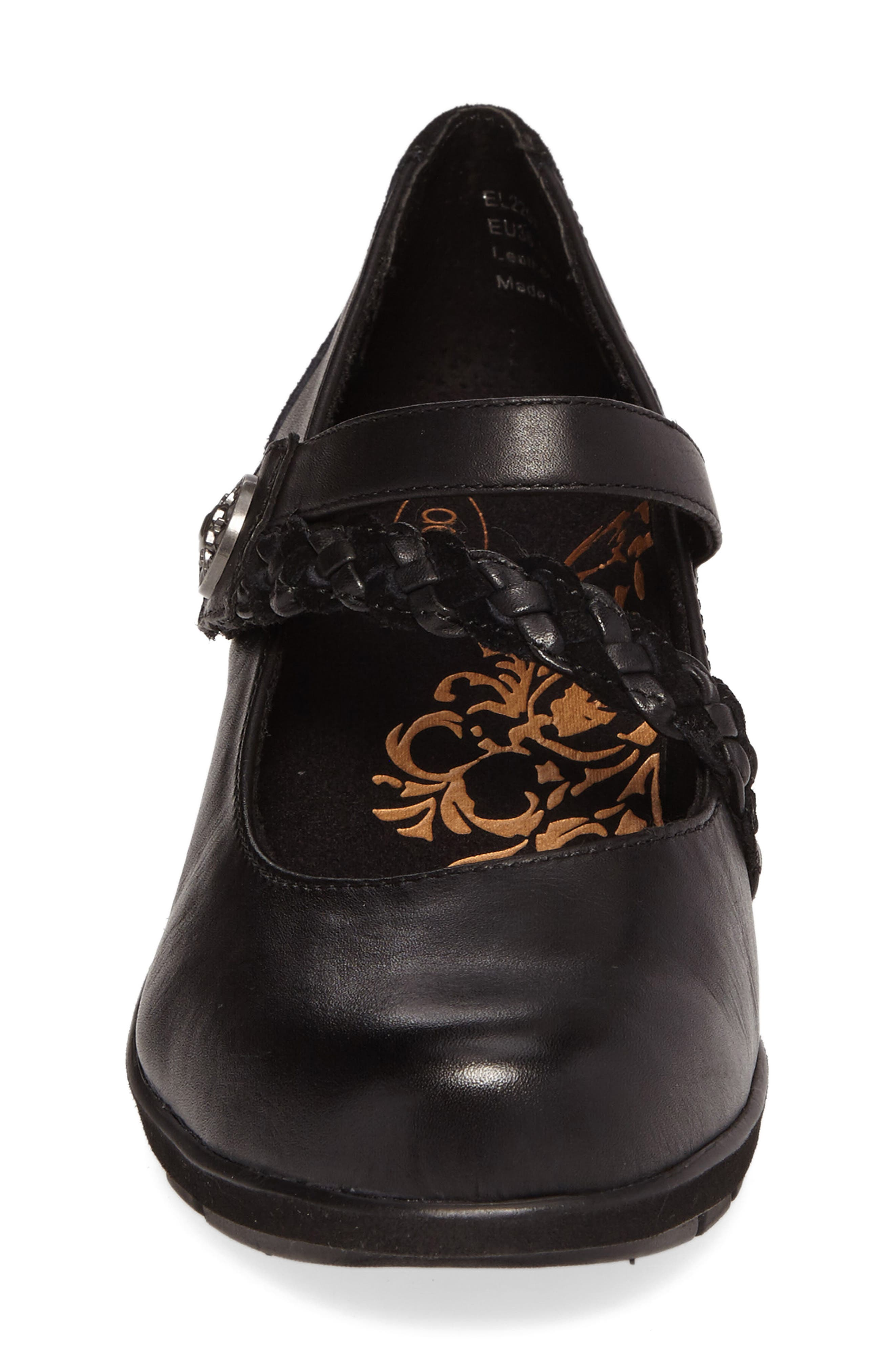 Ivy Mary Jane Wedge,                             Alternate thumbnail 4, color,                             Black Leather