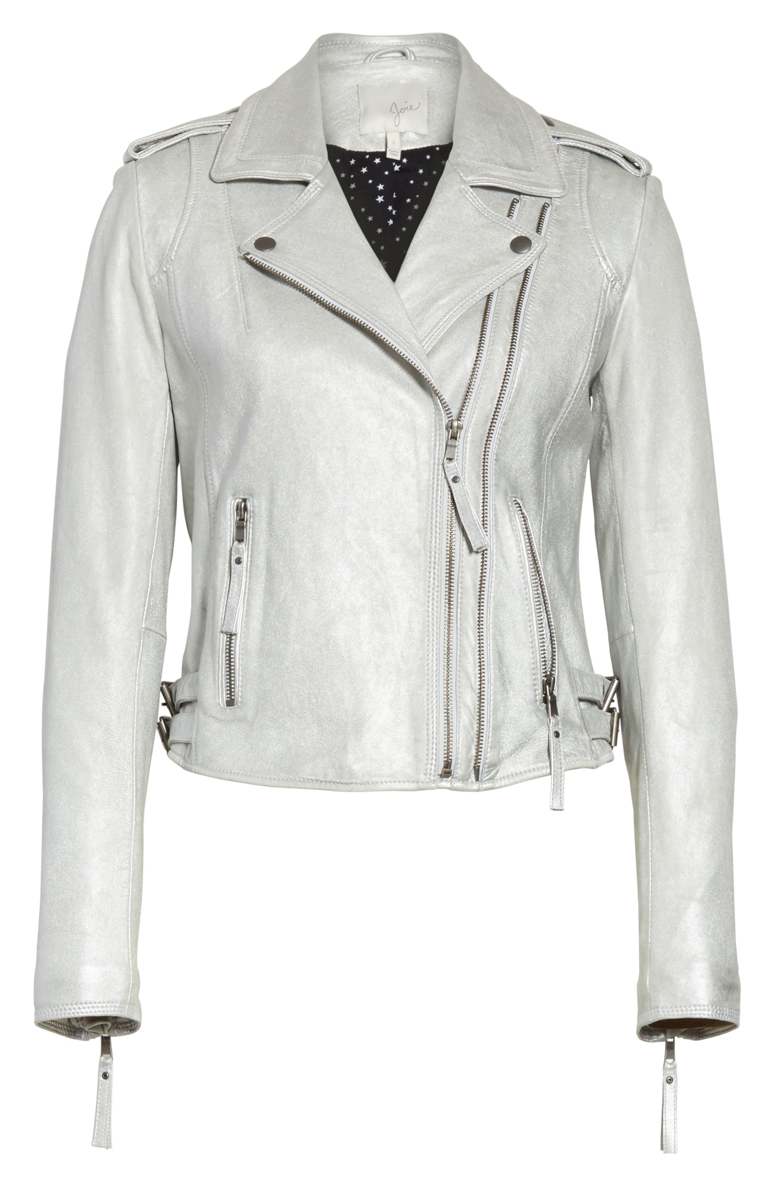 Leolani Leather Jacket,                             Alternate thumbnail 6, color,                             Silver