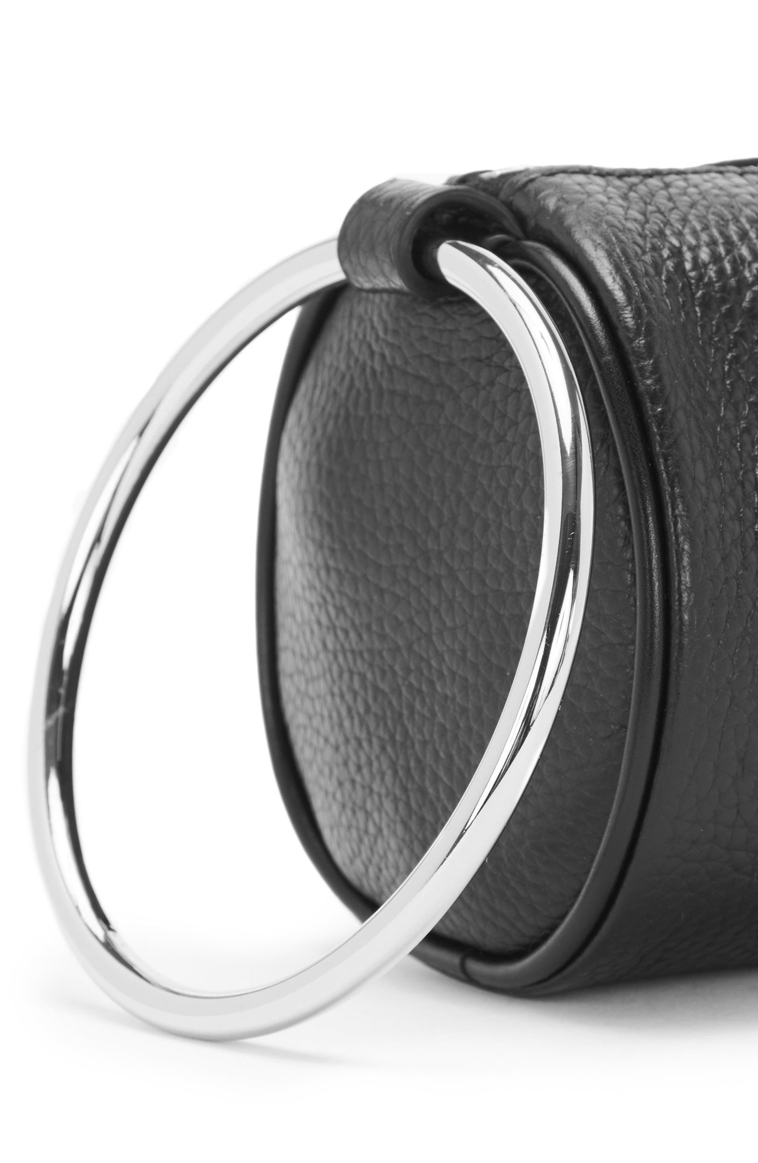 Pebbled Leather Duffel Wristlet Clutch,                             Alternate thumbnail 5, color,                             Black