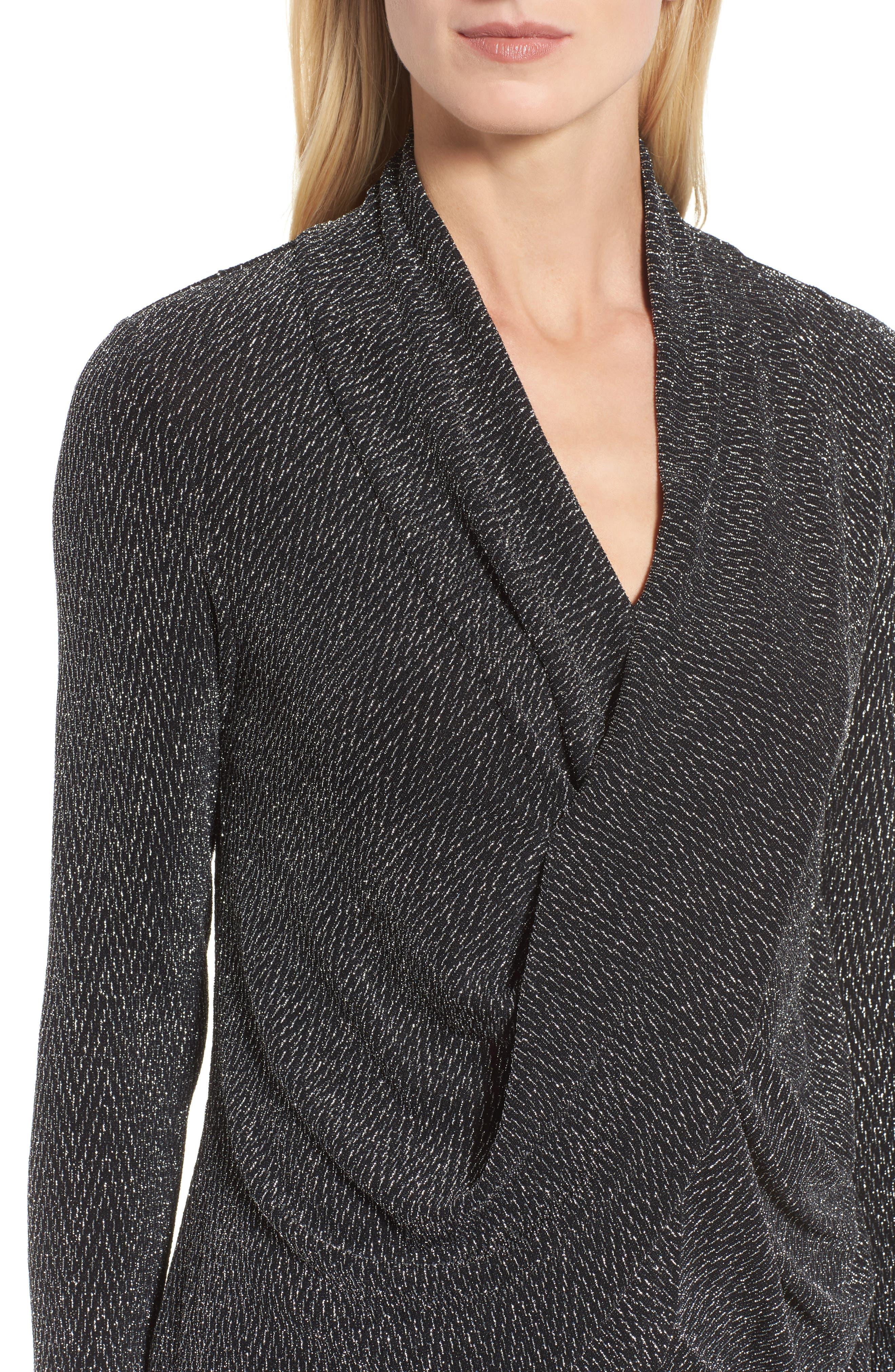 Alternate Image 4  - Chaus Long Drape Front Sparkle Knit Top