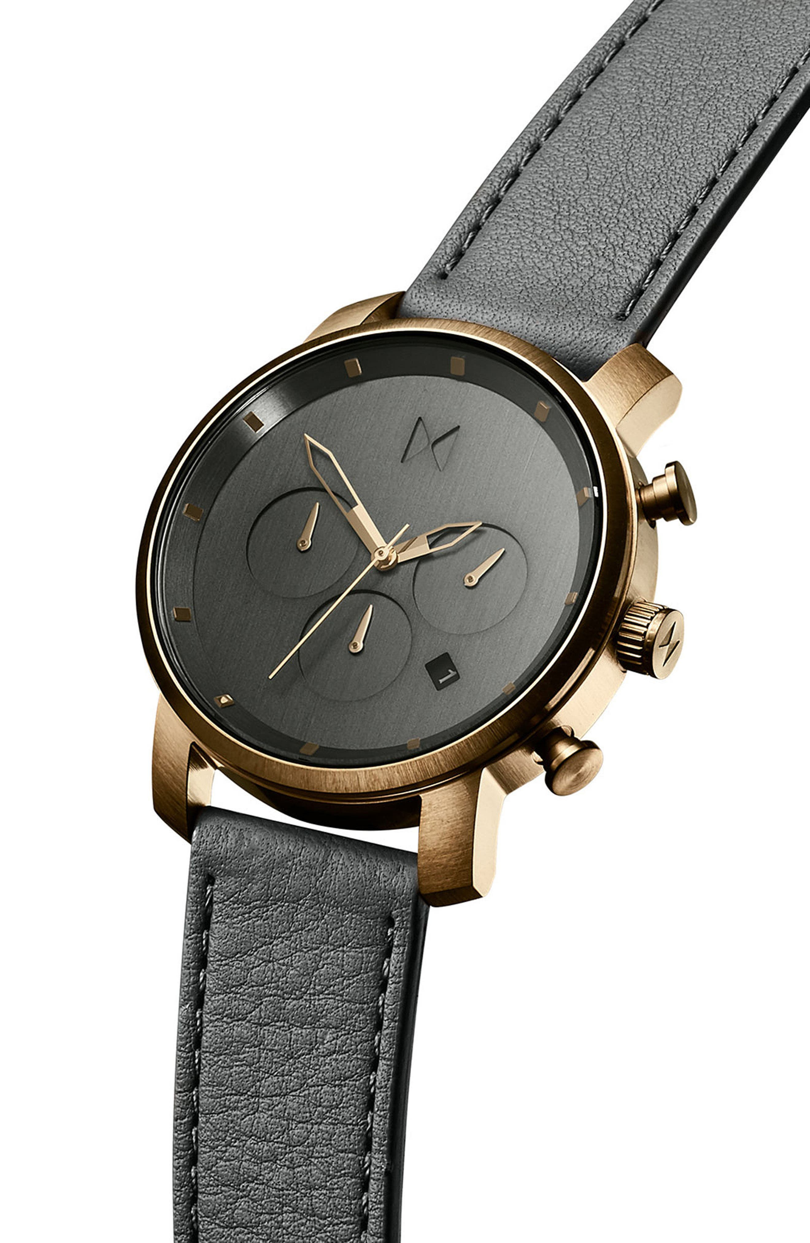 The Chrono Chronograph Leather Strap Watch, 40mm,                             Alternate thumbnail 3, color,                             All Black/ Rose Gold