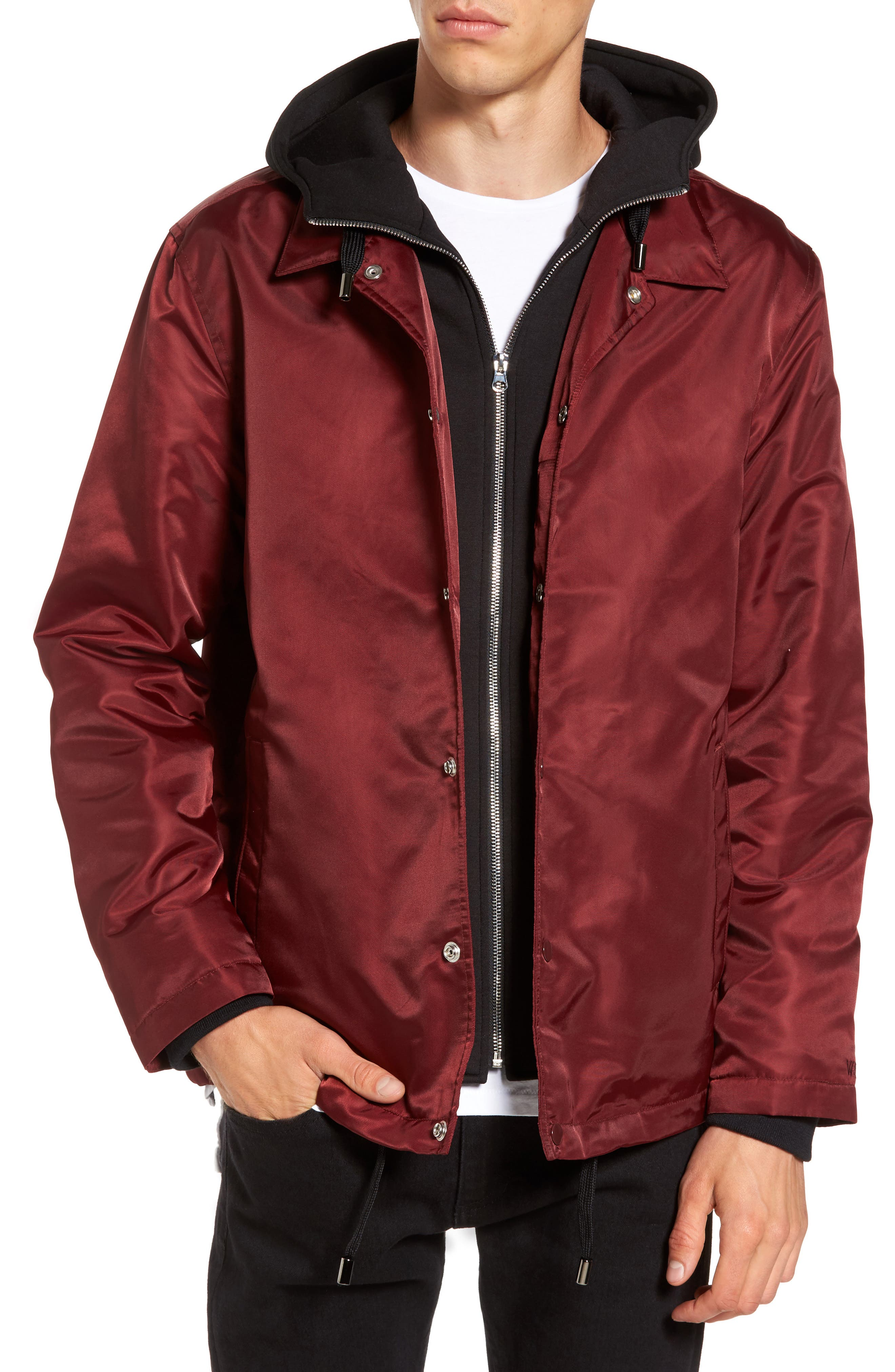 Yorkshire Hooded Coach's Jacket,                             Main thumbnail 1, color,                             Burgundy