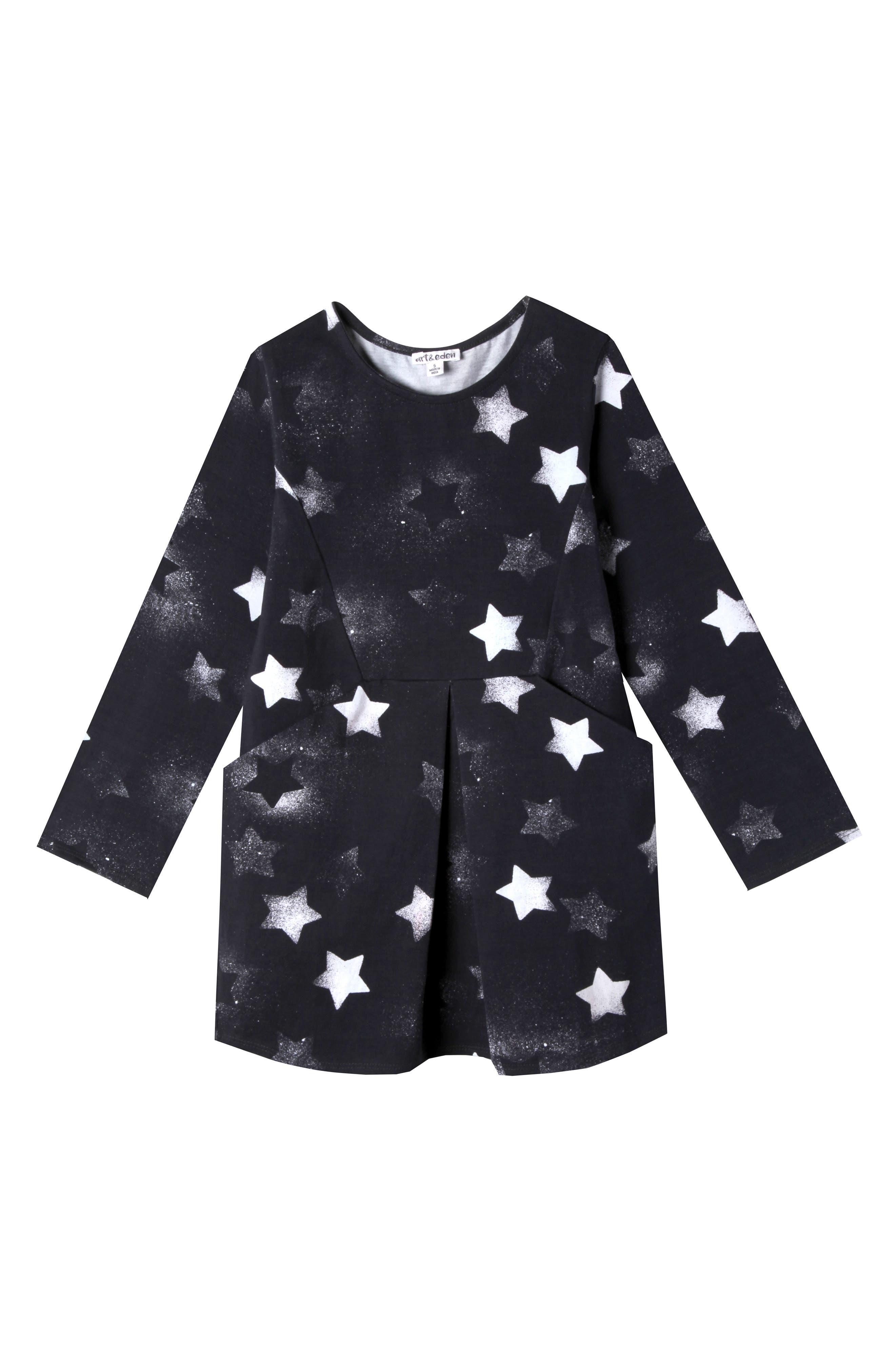 Kennedy Star Print Dress,                         Main,                         color, Black