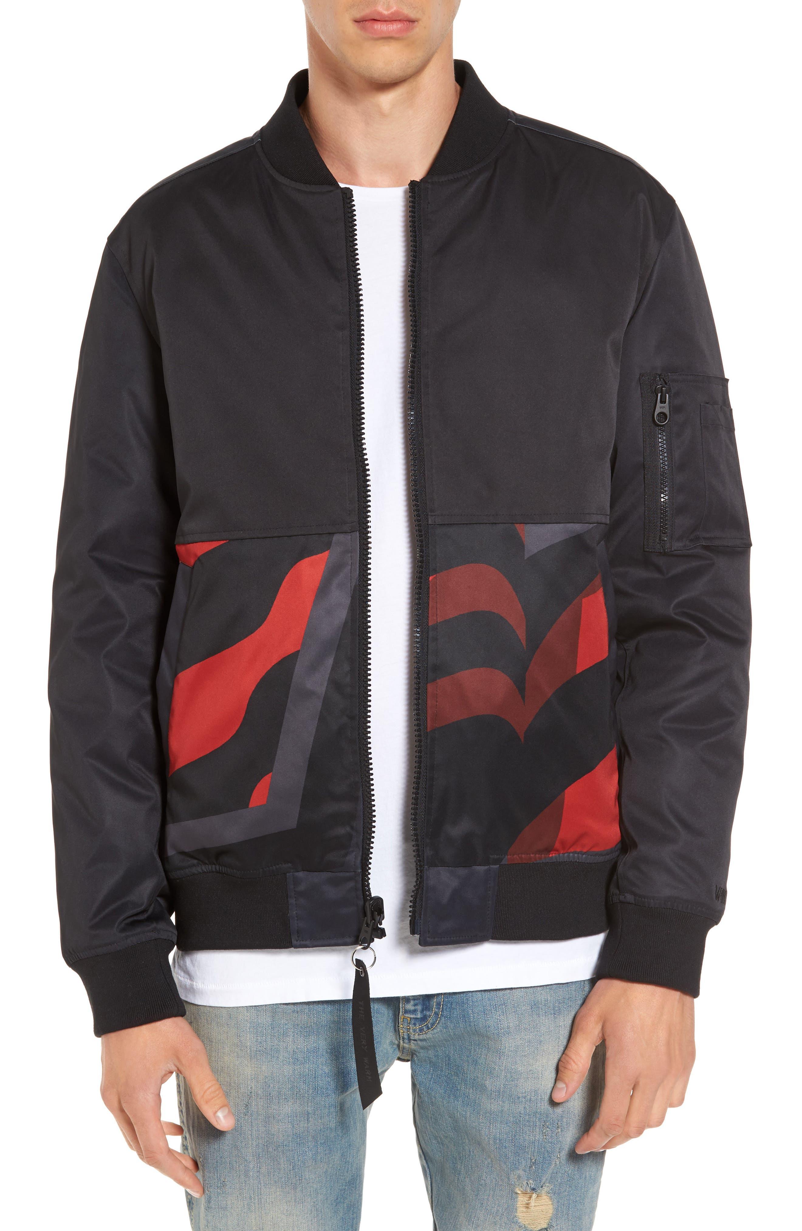 Reversible Down Bomber Jacket,                             Main thumbnail 1, color,                             Black