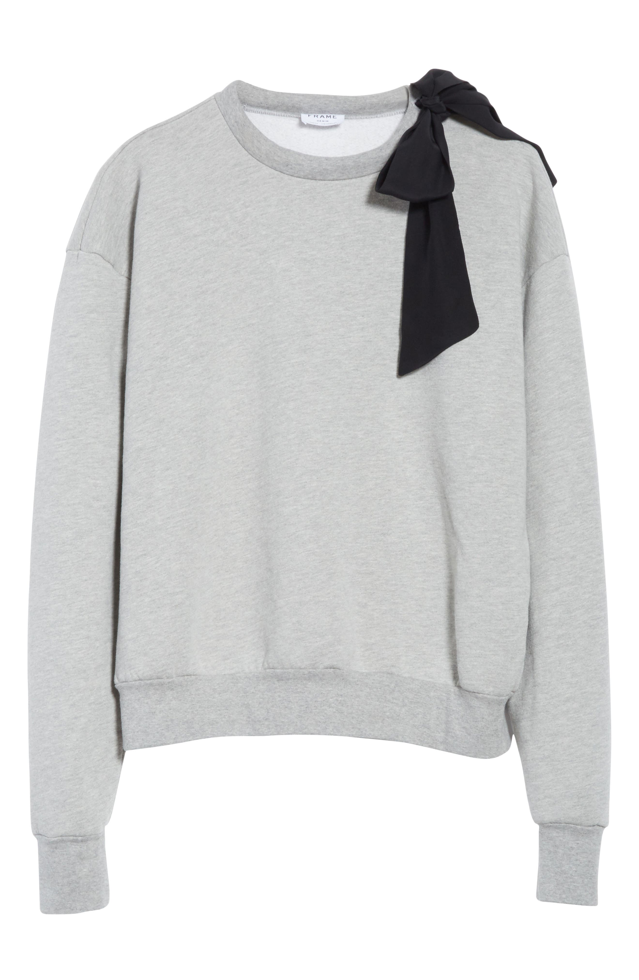 Bow Sweatshirt,                             Alternate thumbnail 6, color,                             Gris