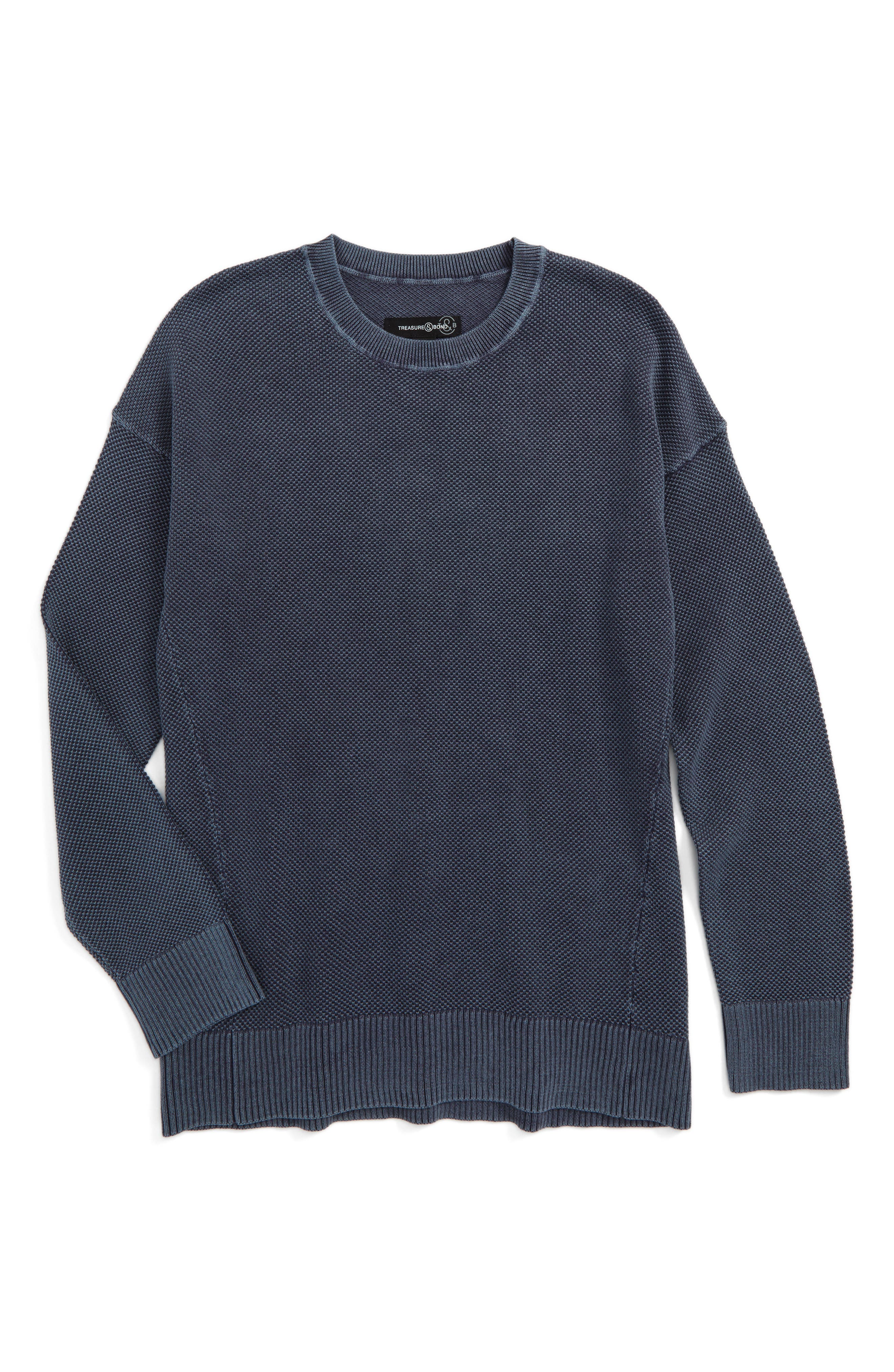 Waffle Knit Sweater,                         Main,                         color, Blue Chinoise