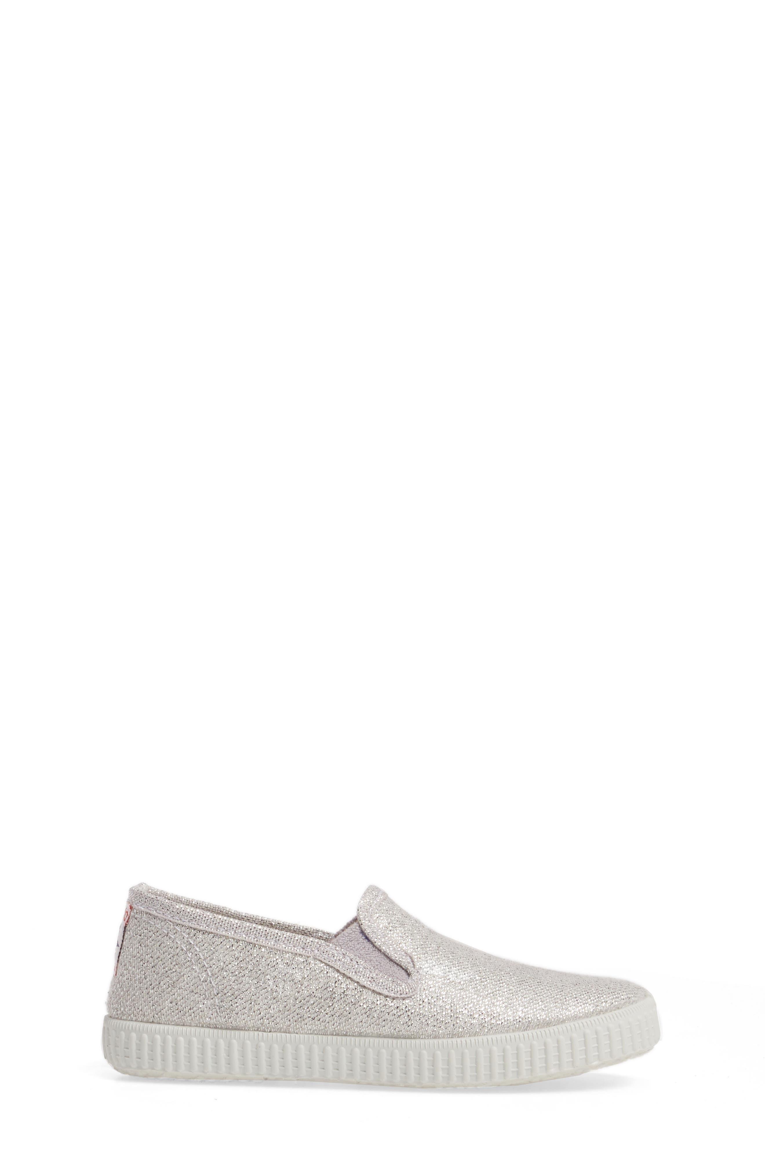 Glitter Slip-On Sneaker,                             Alternate thumbnail 3, color,                             Silver