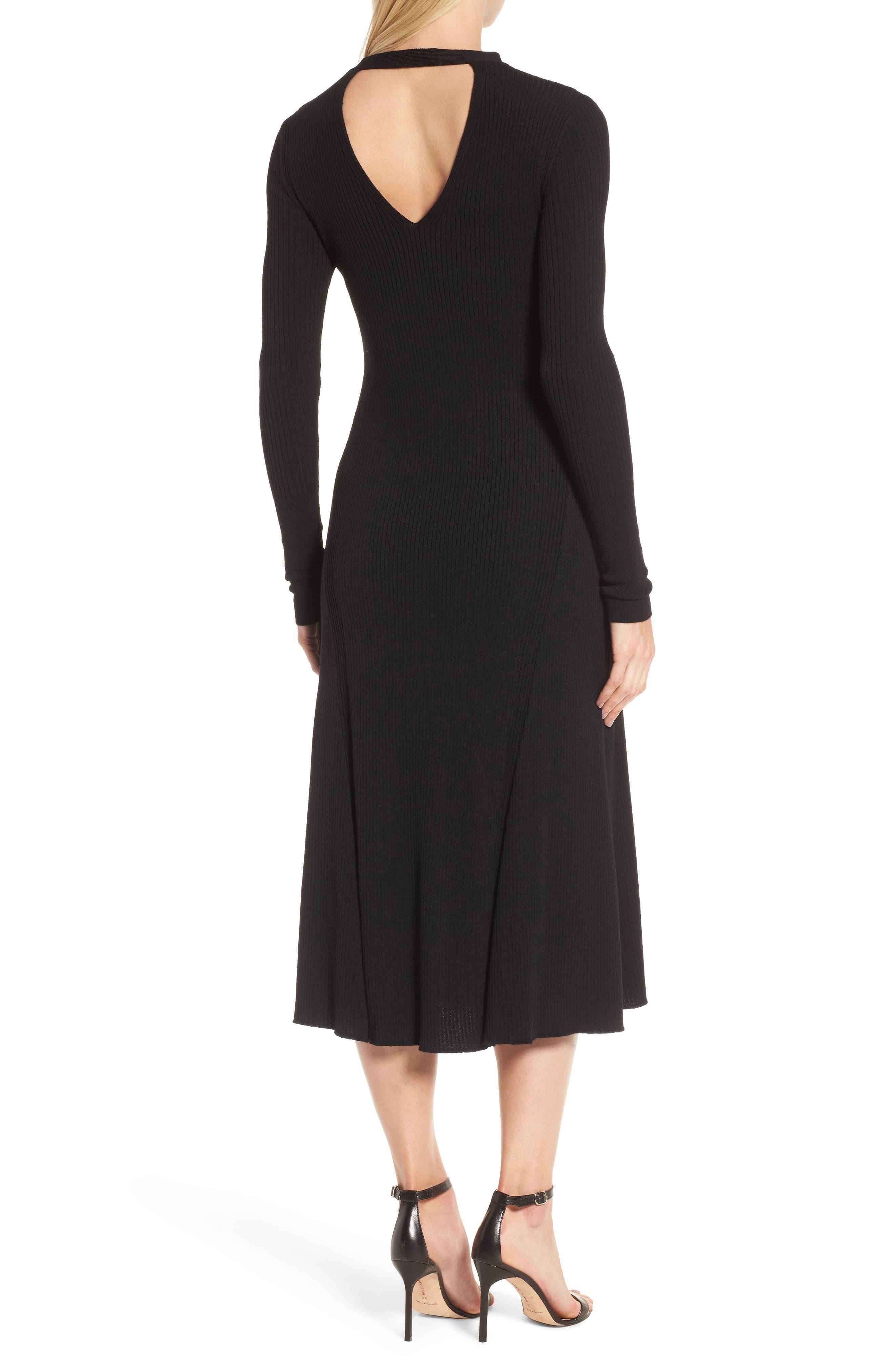 Faustine Midi Dress,                             Alternate thumbnail 2, color,                             Black