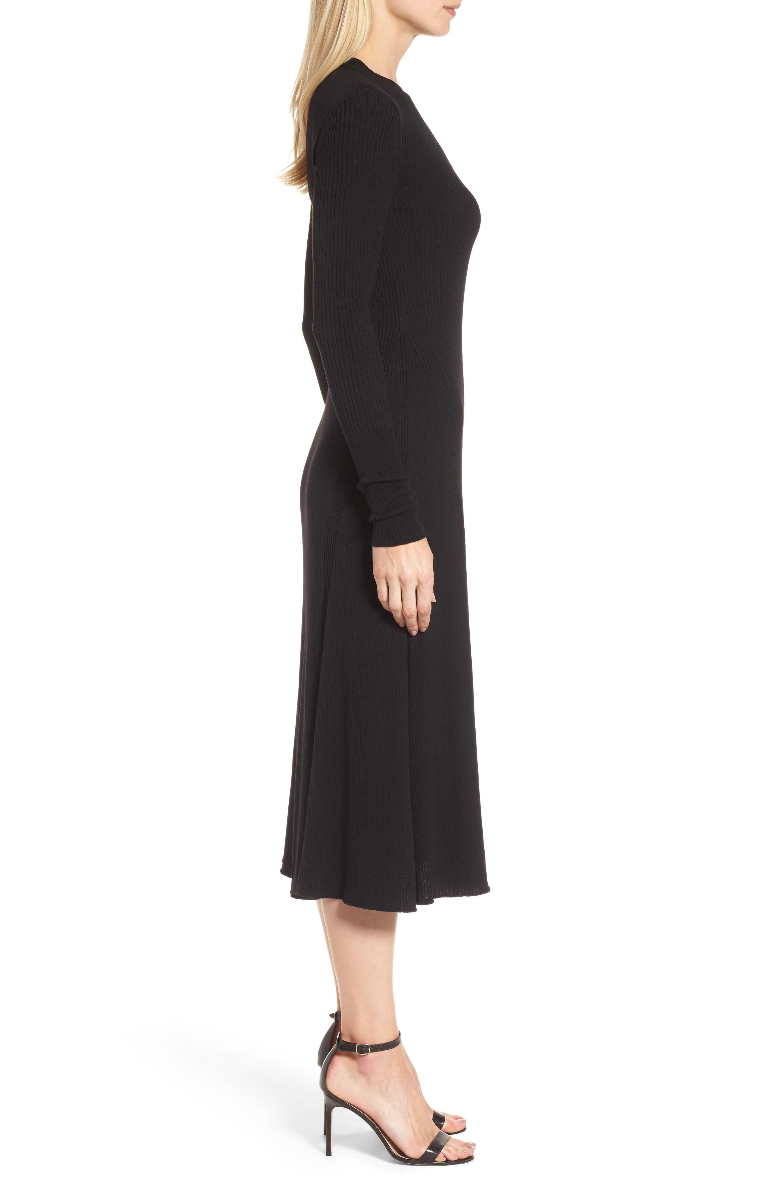 Faustine Midi Dress,                             Alternate thumbnail 3, color,                             Black