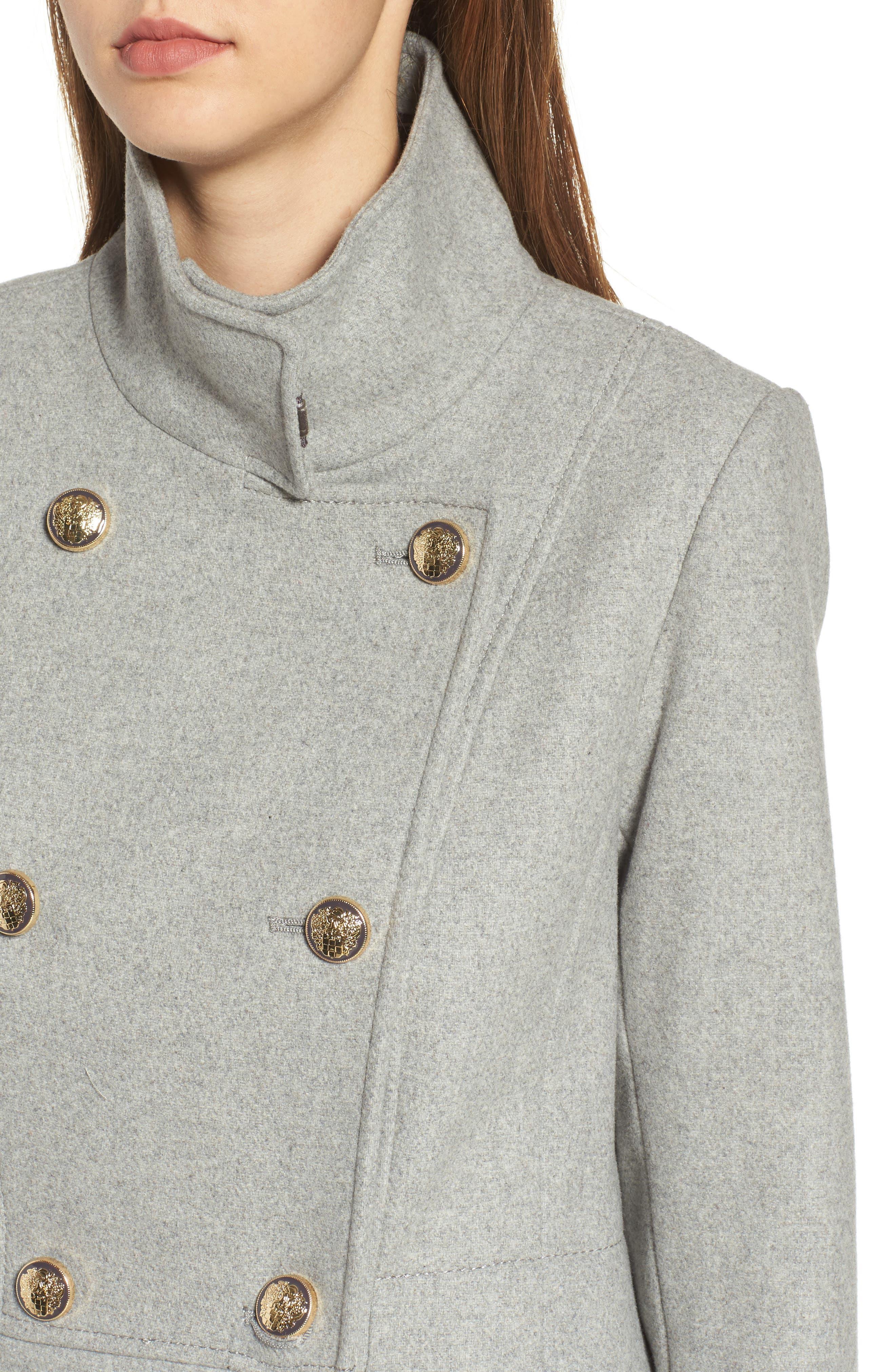 Wool Blend Military Coat,                             Alternate thumbnail 4, color,                             Light Grey