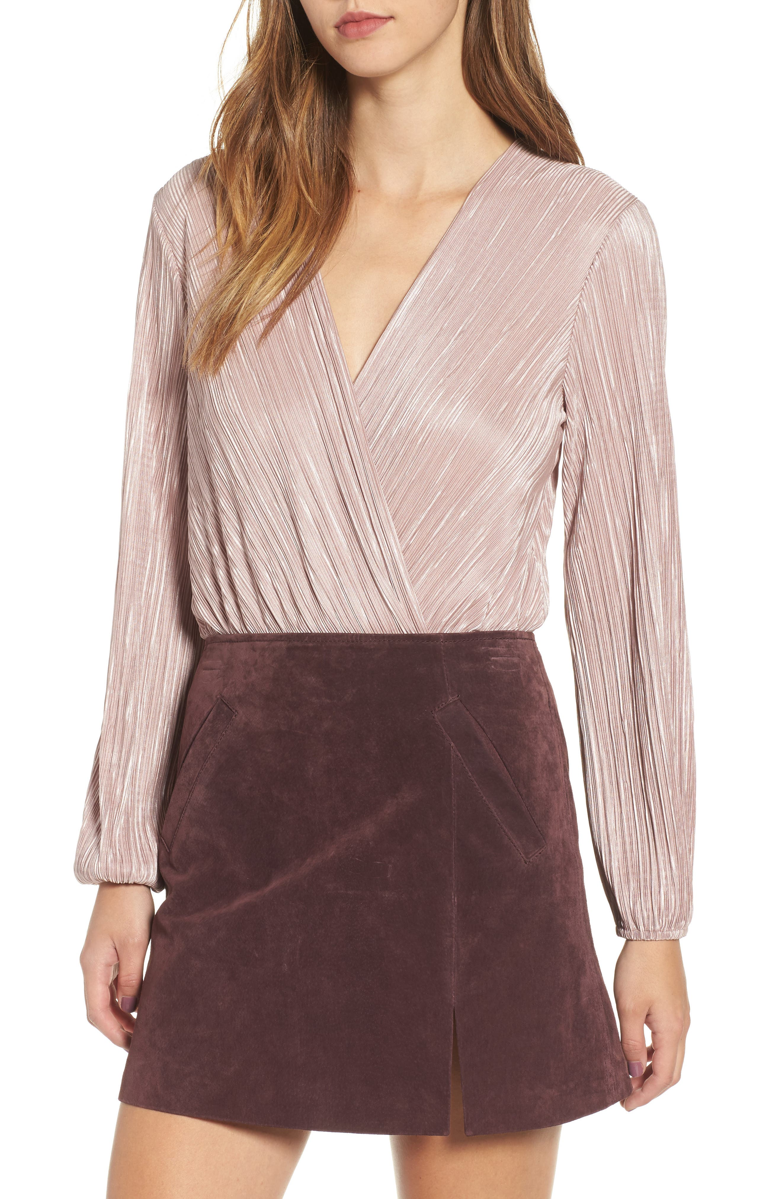 Pleated Bodysuit,                         Main,                         color, Pink Adobe