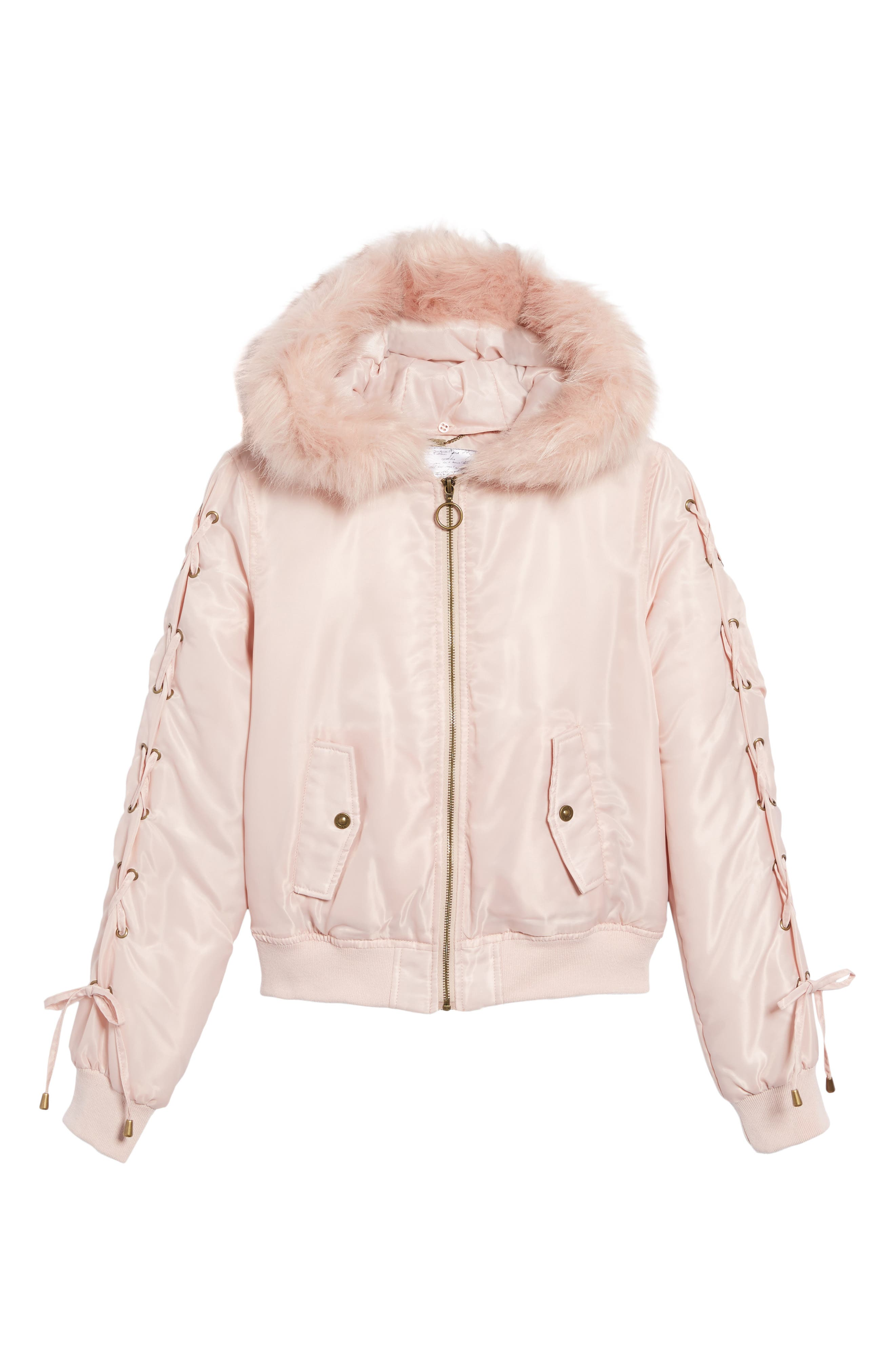 Lace-Up Sleeve Quilted Bomber Jacket,                             Alternate thumbnail 6, color,                             Blush