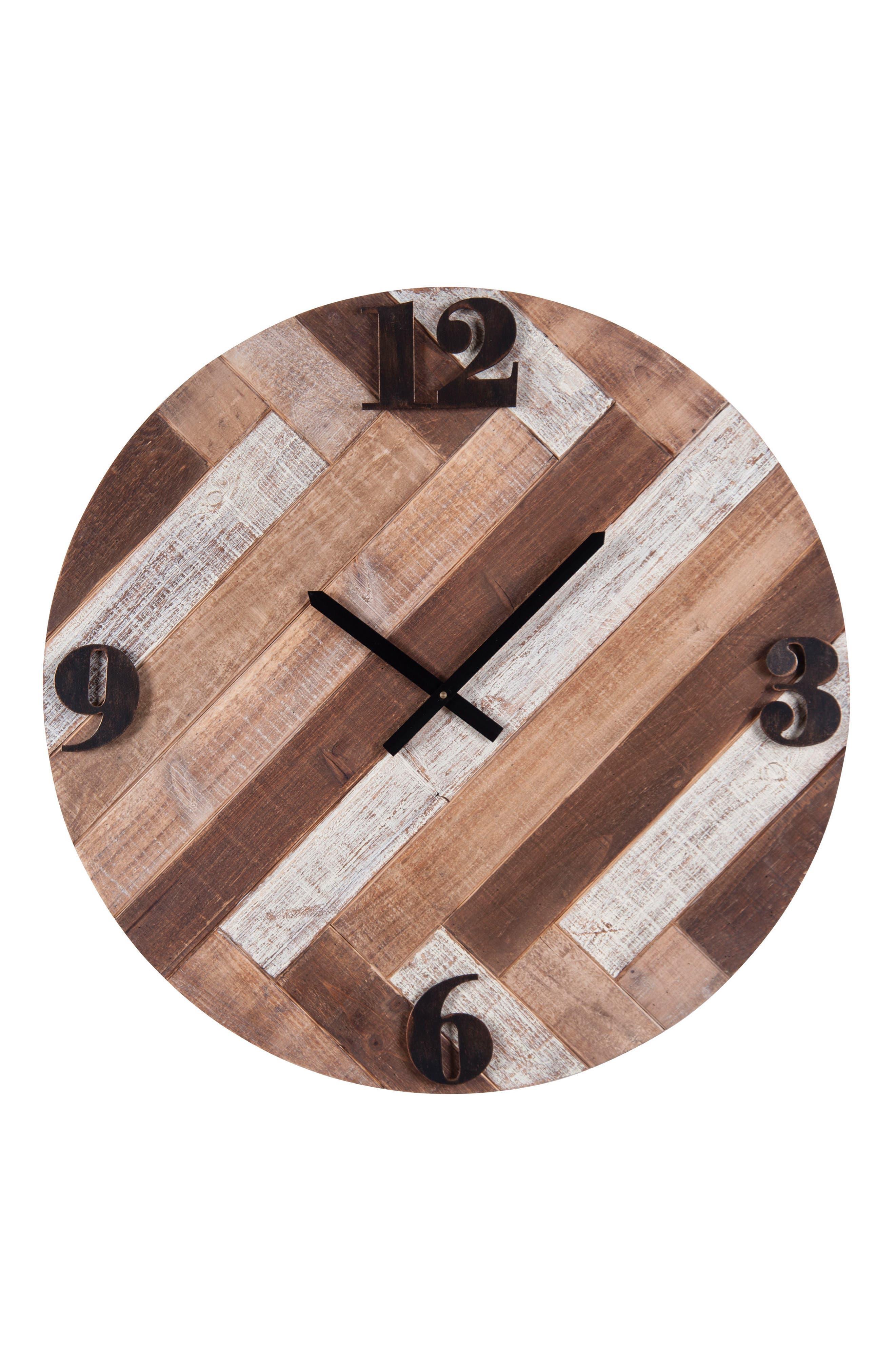 Wooden Boardwalk Wall Clock,                             Main thumbnail 1, color,                             Wood/ Metal