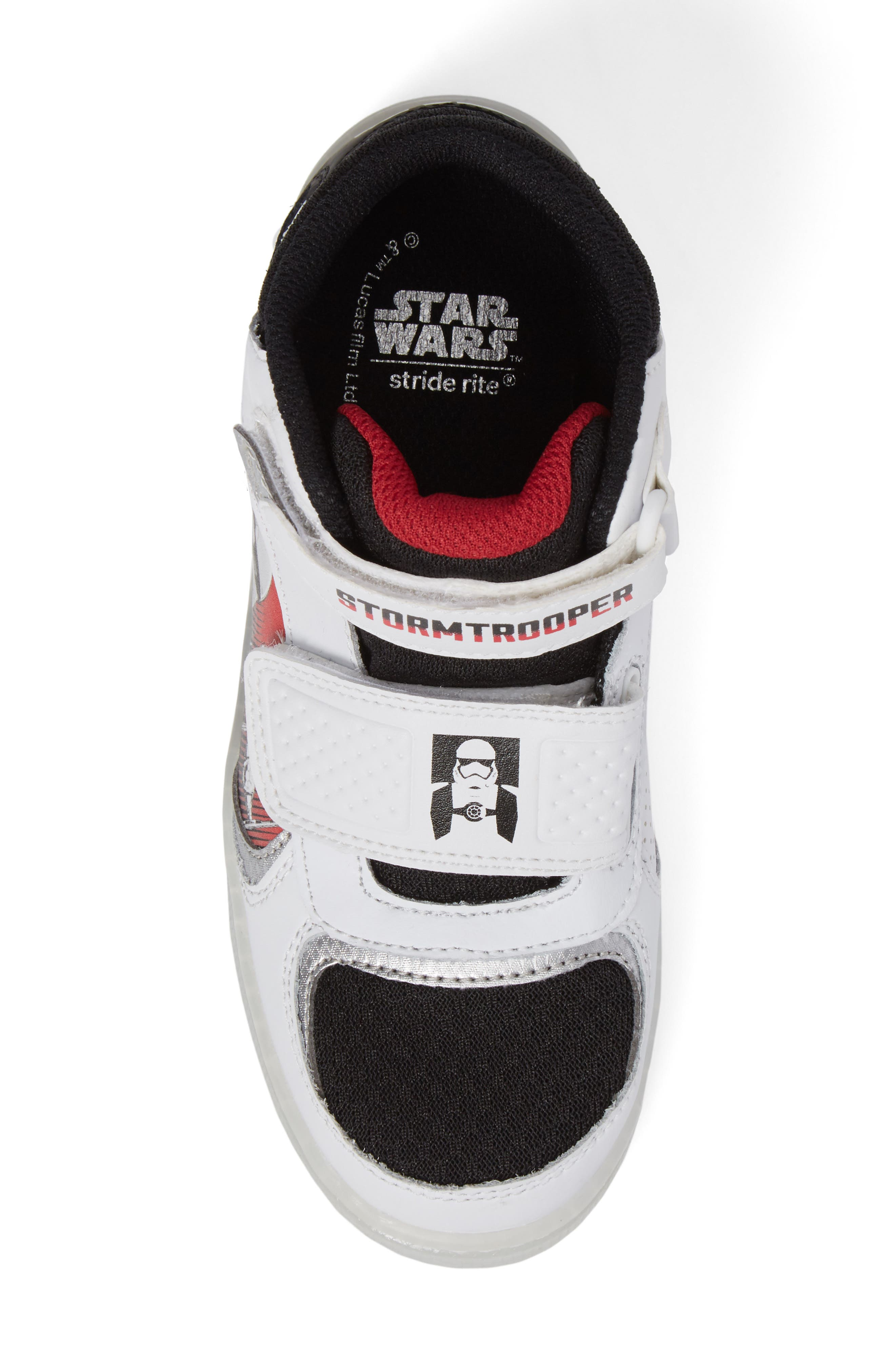 Star Wars<sup>®</sup> Stormtropper Galaxy Light-Up Sneaker,                             Alternate thumbnail 5, color,                             White/ Black
