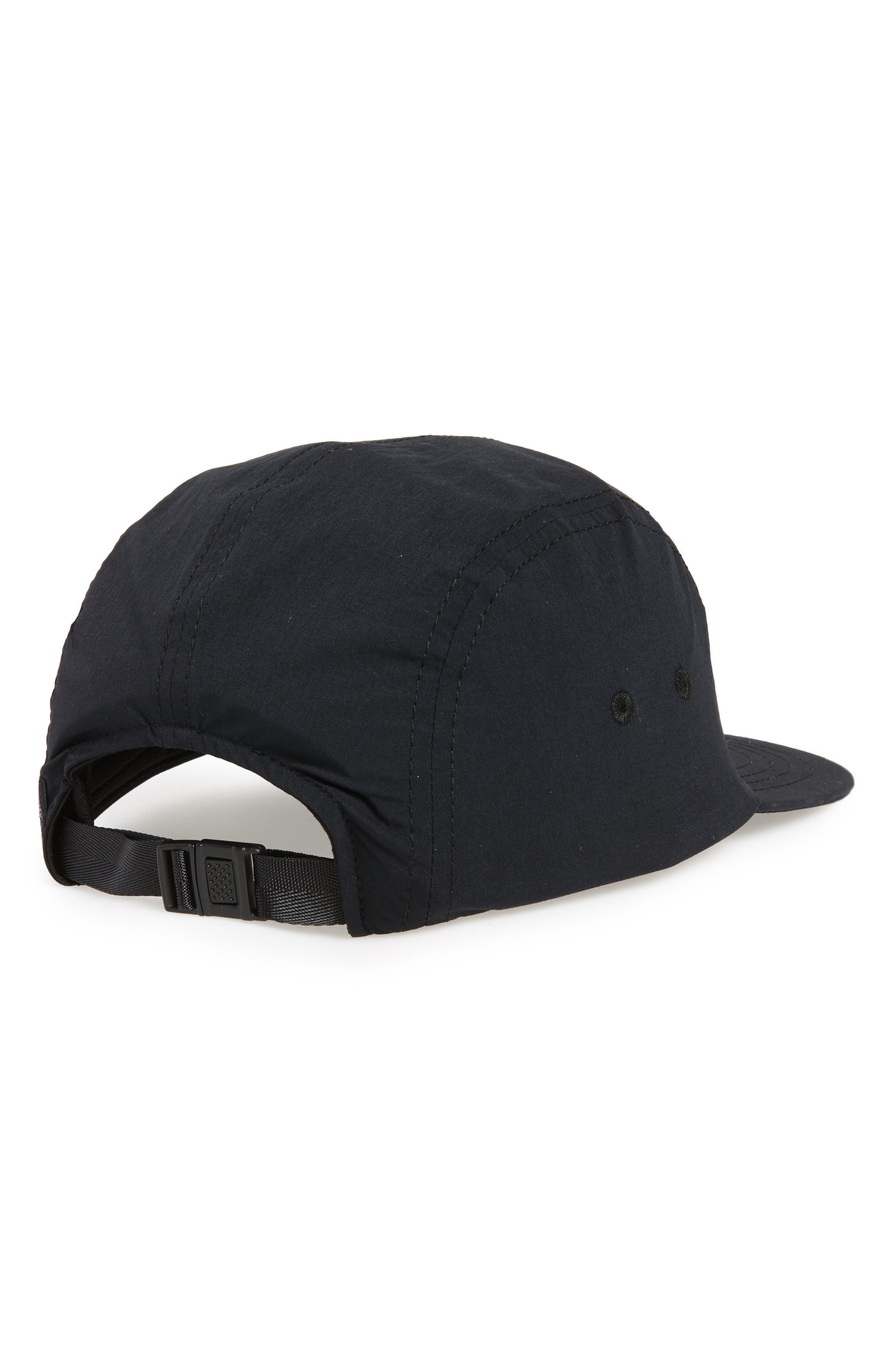 Five Panel Nylon Camp Hat,                             Alternate thumbnail 2, color,                             Black