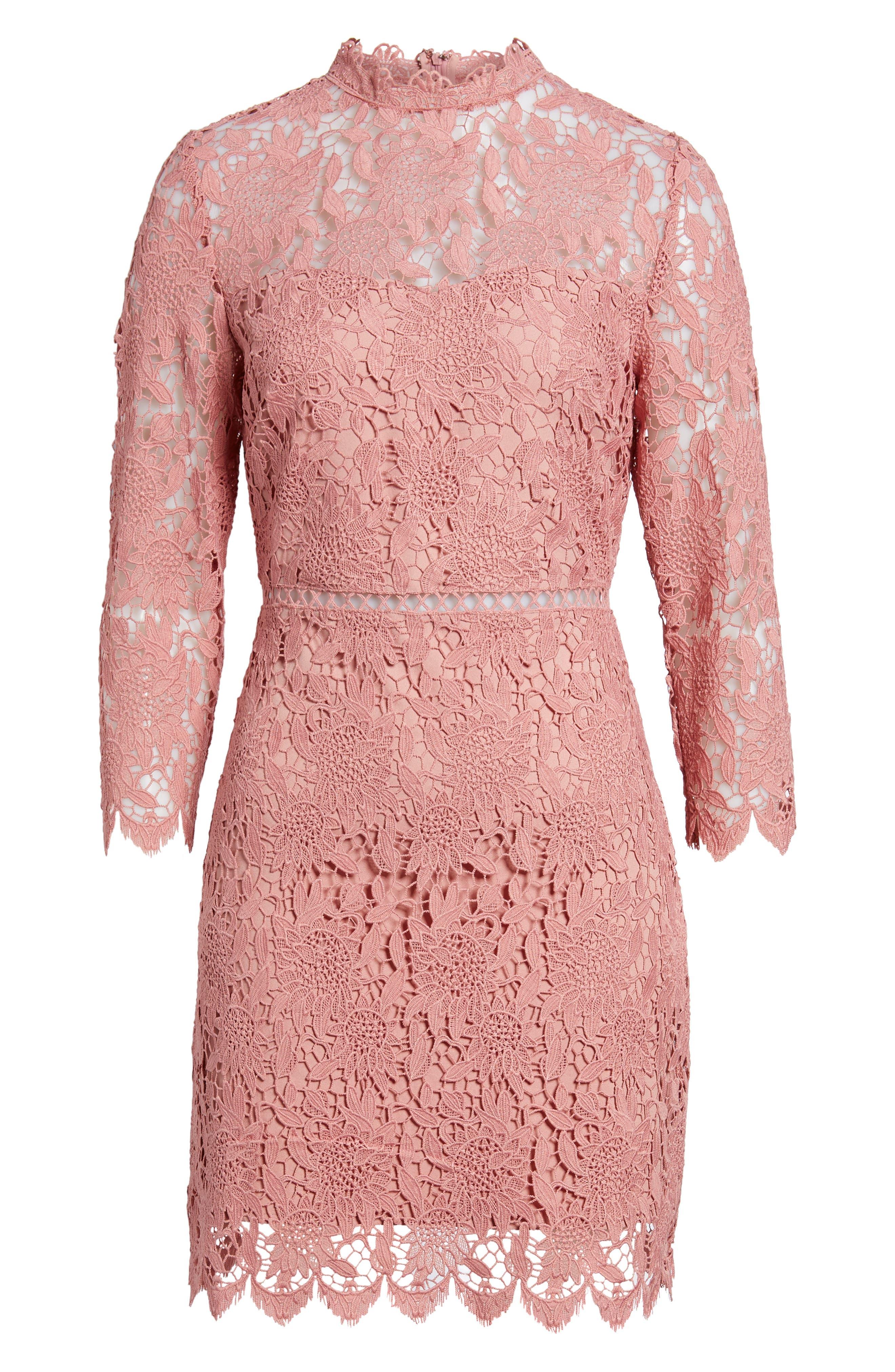 Lace Sheath Dress,                             Alternate thumbnail 6, color,                             Pink