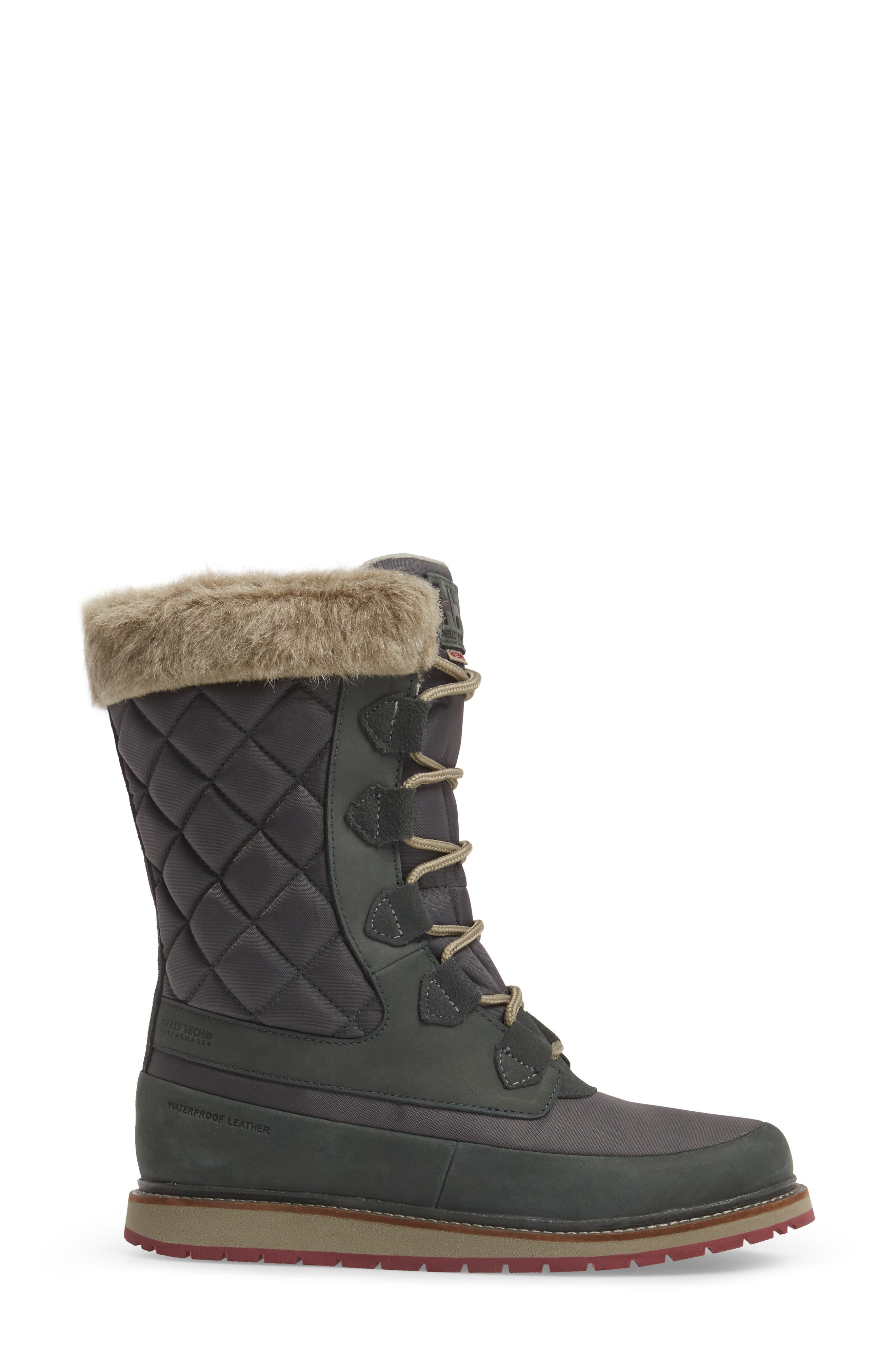 Arosa Waterproof Boot with Faux Fur Trim,                             Alternate thumbnail 3, color,                             Darkest Spruce / Rock / La