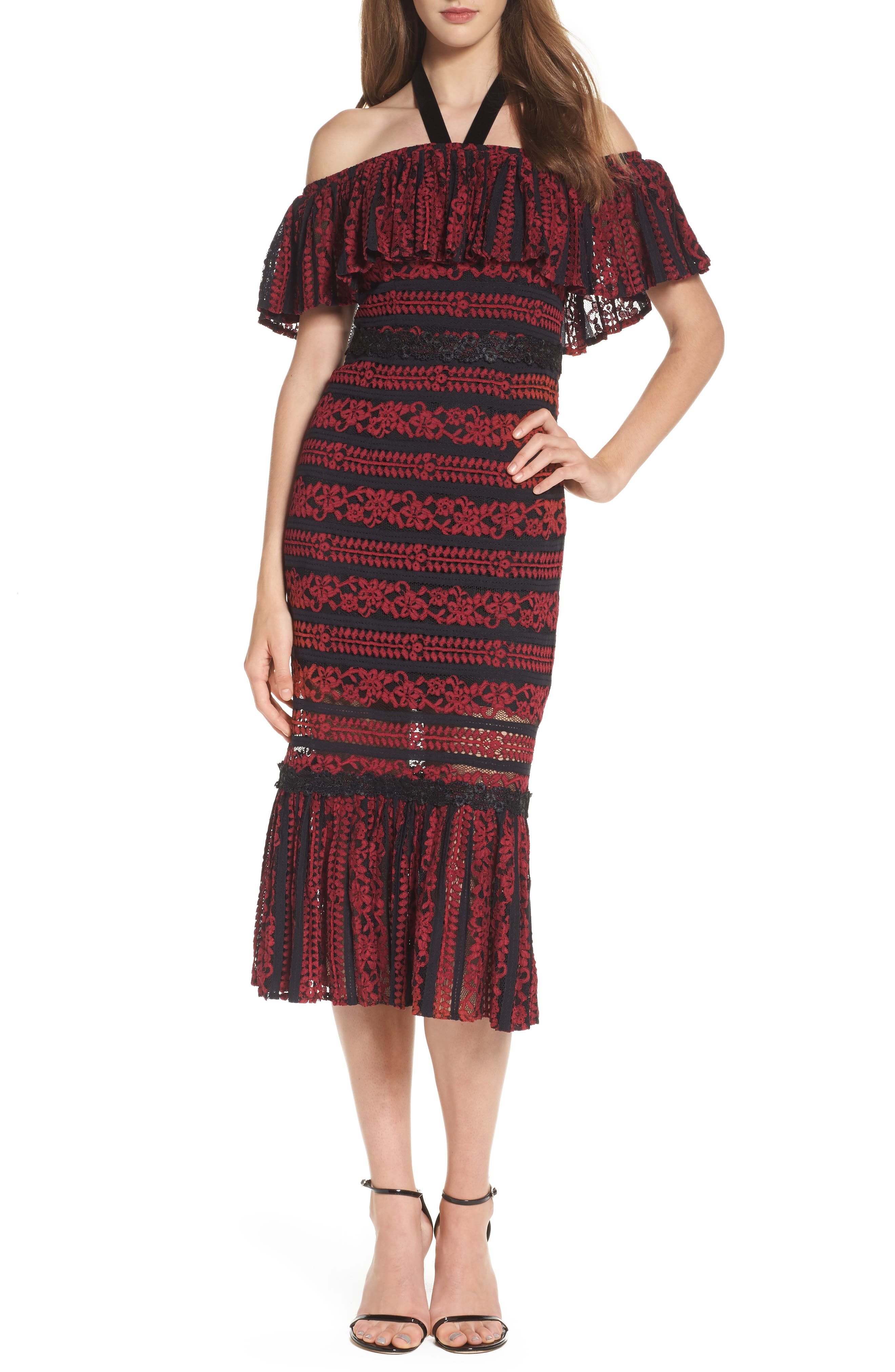 FOXIEDOX Stella Off the Shoulder Lace Midi Dress