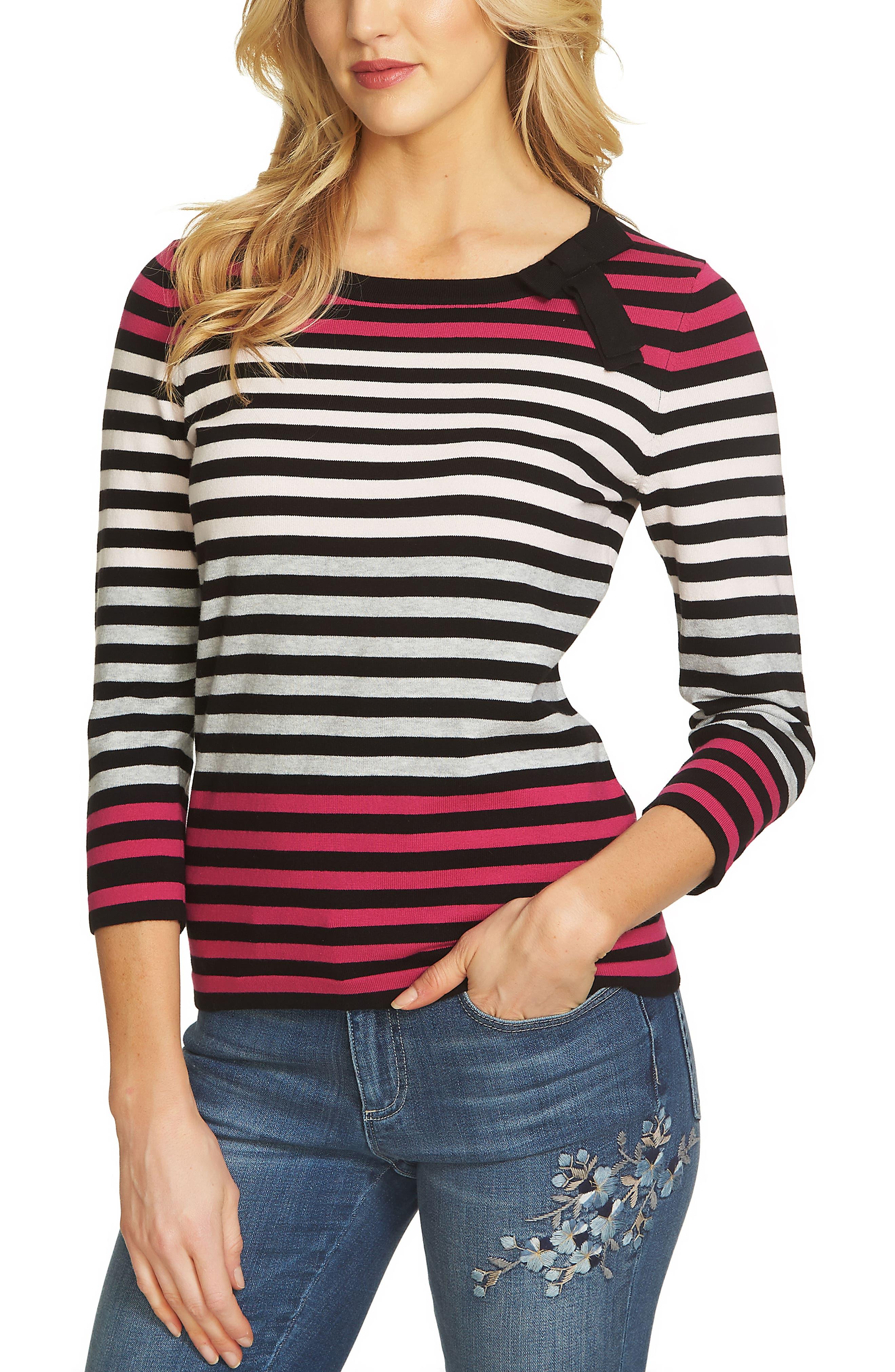 CeCe Colorblock Stripe Sweater