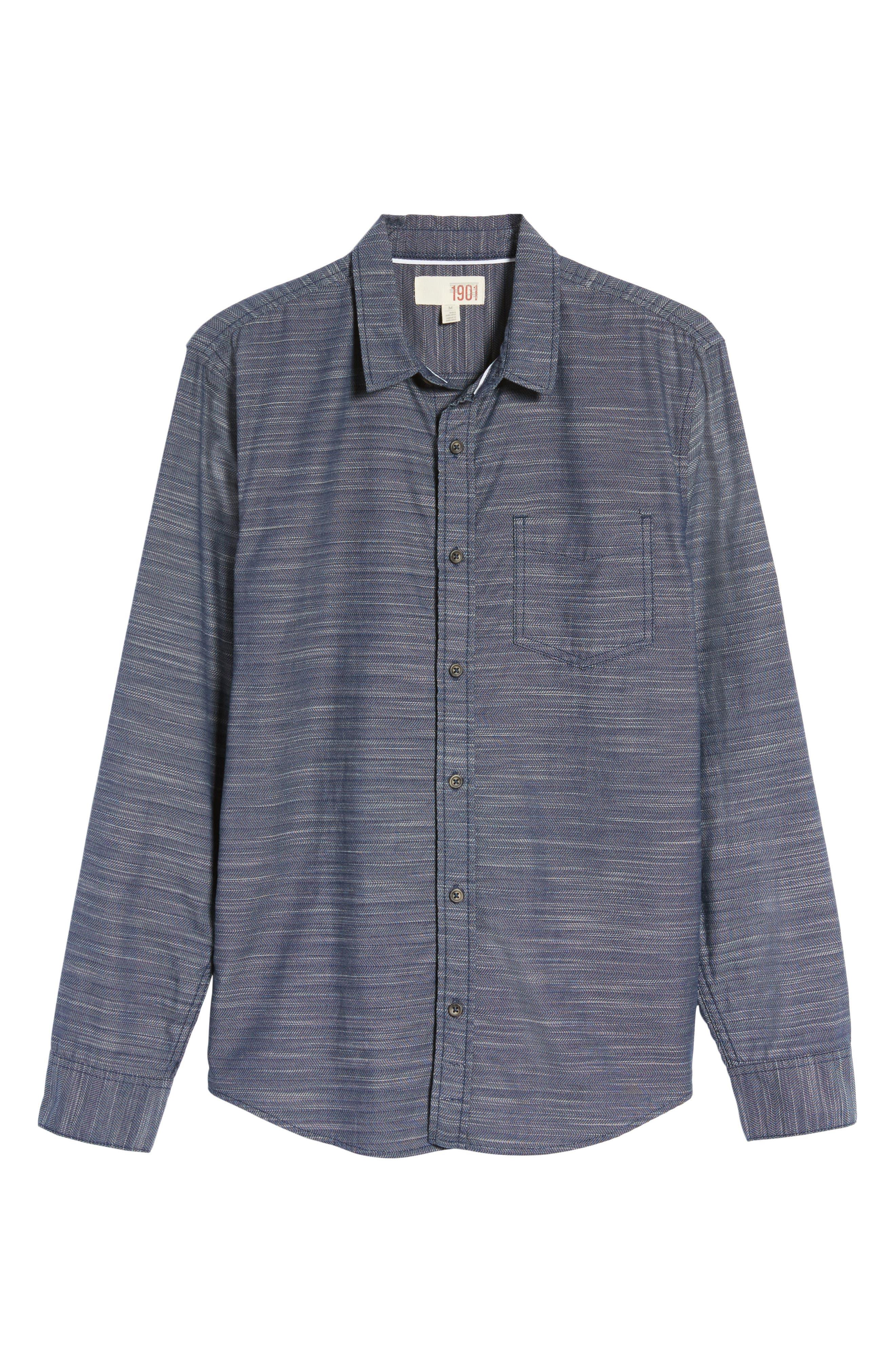 Herringbone Chambray Shirt,                             Alternate thumbnail 6, color,                             Navy Charcoal Herringbone