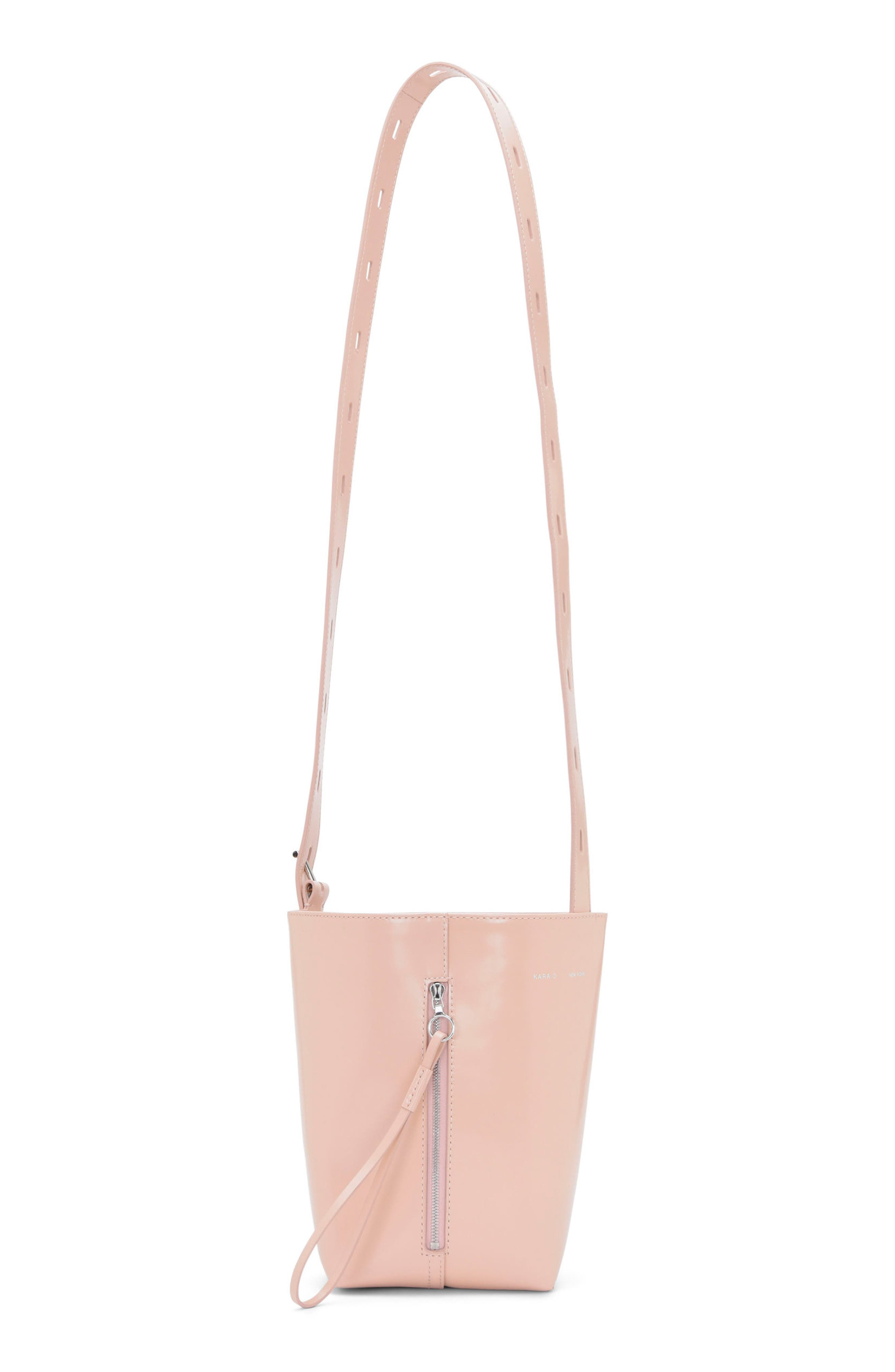KARA Leather Panel Pail Convertible Leather Bucket Bag