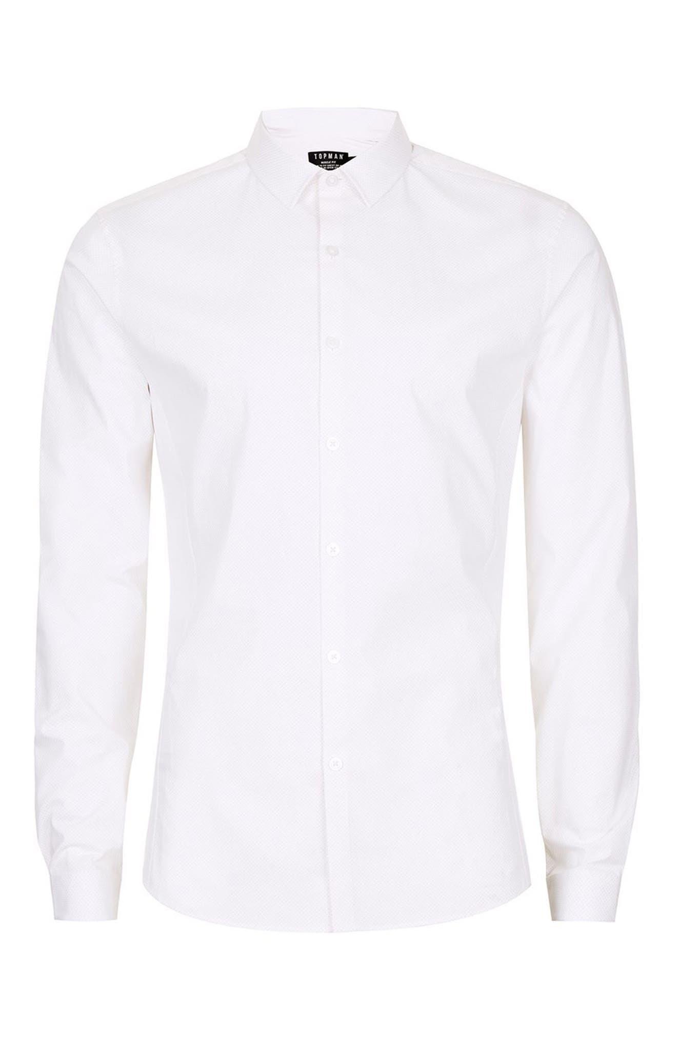Muscle Fit Polka Dot Shirt,                             Alternate thumbnail 4, color,                             White