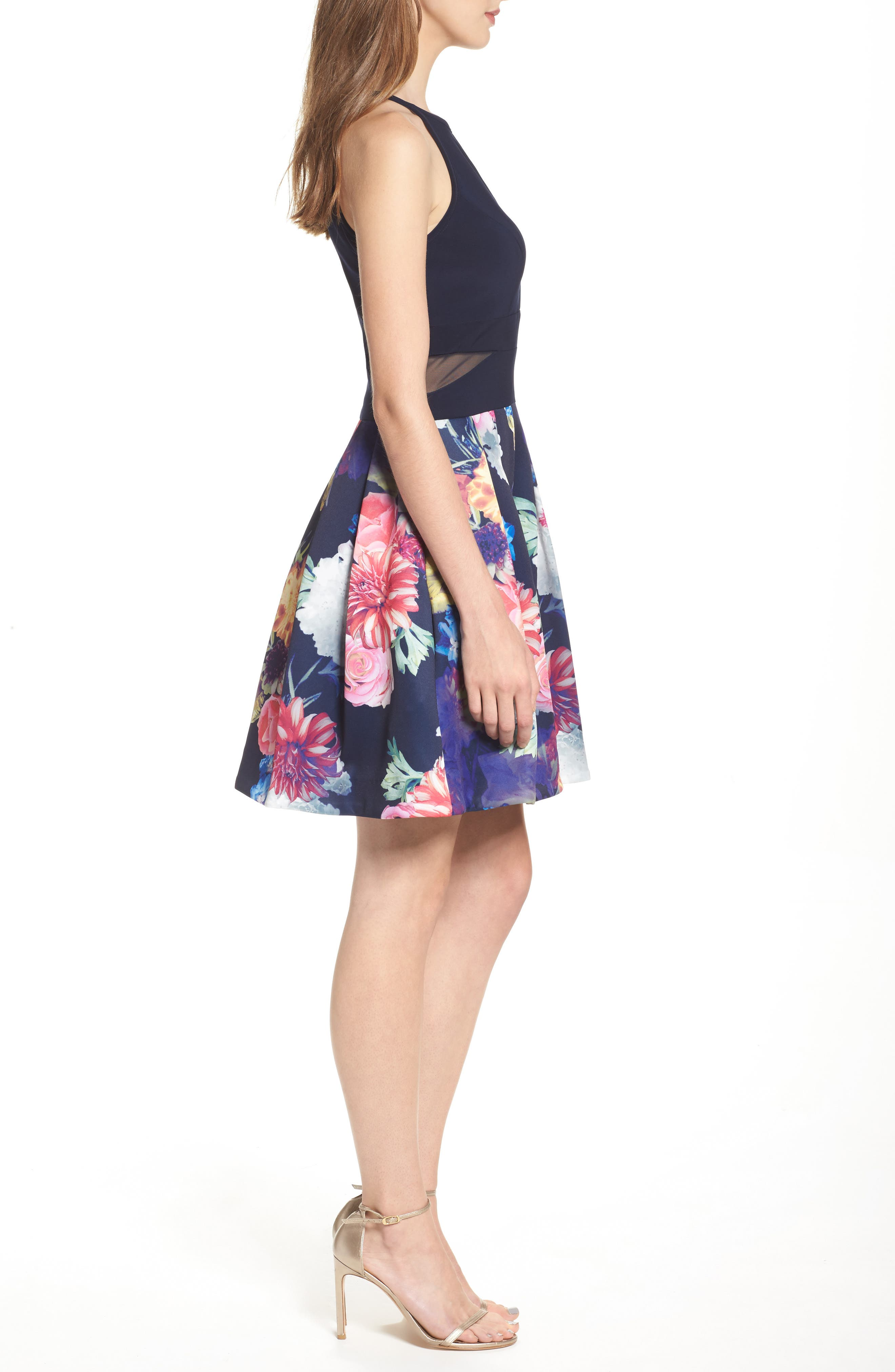 Keyhole Mixed Media Party Dress,                             Alternate thumbnail 3, color,                             Navy/ Pink