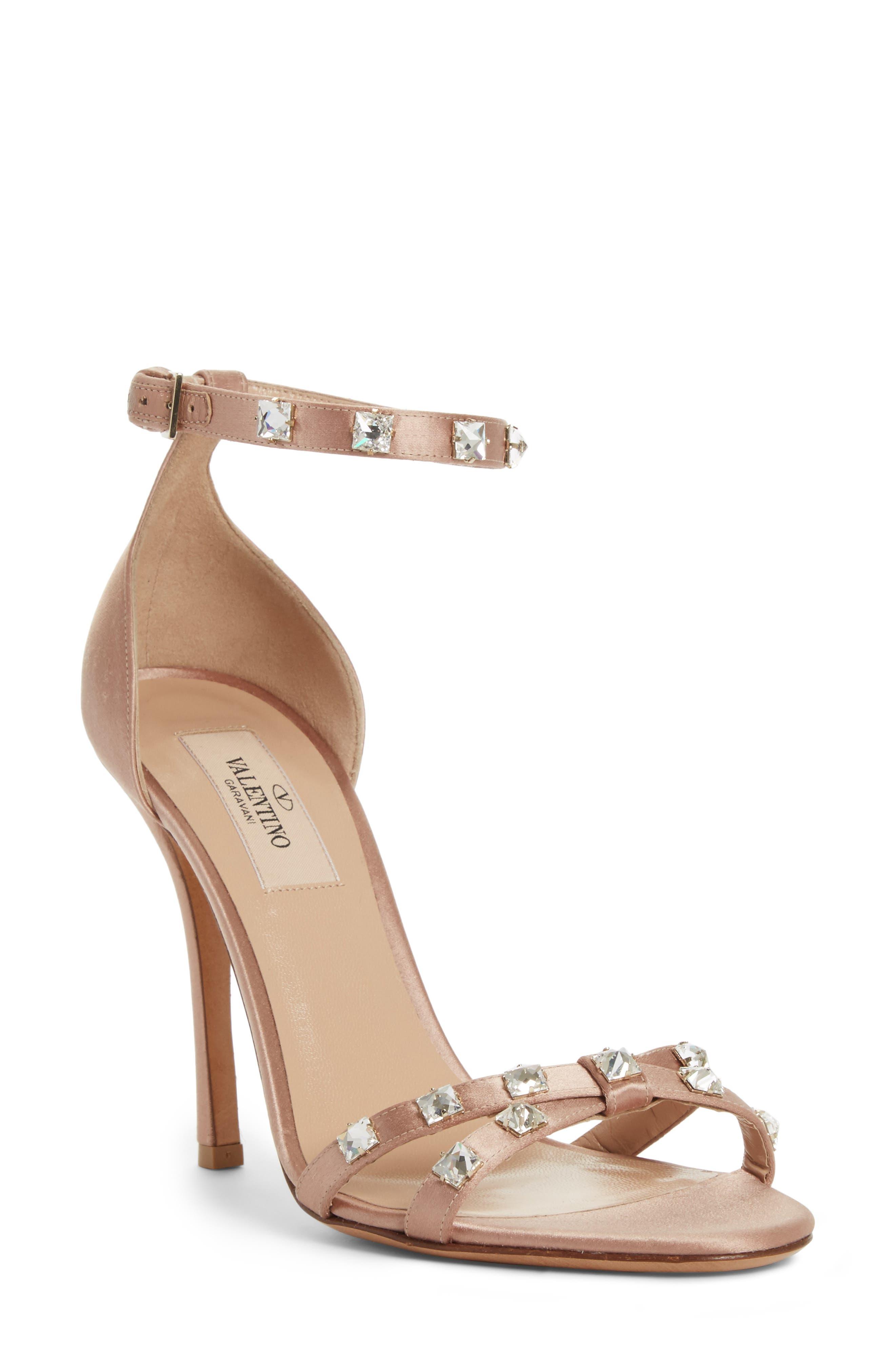 Rockstud Glam Ankle Strap Sandal,                             Main thumbnail 1, color,                             Beige