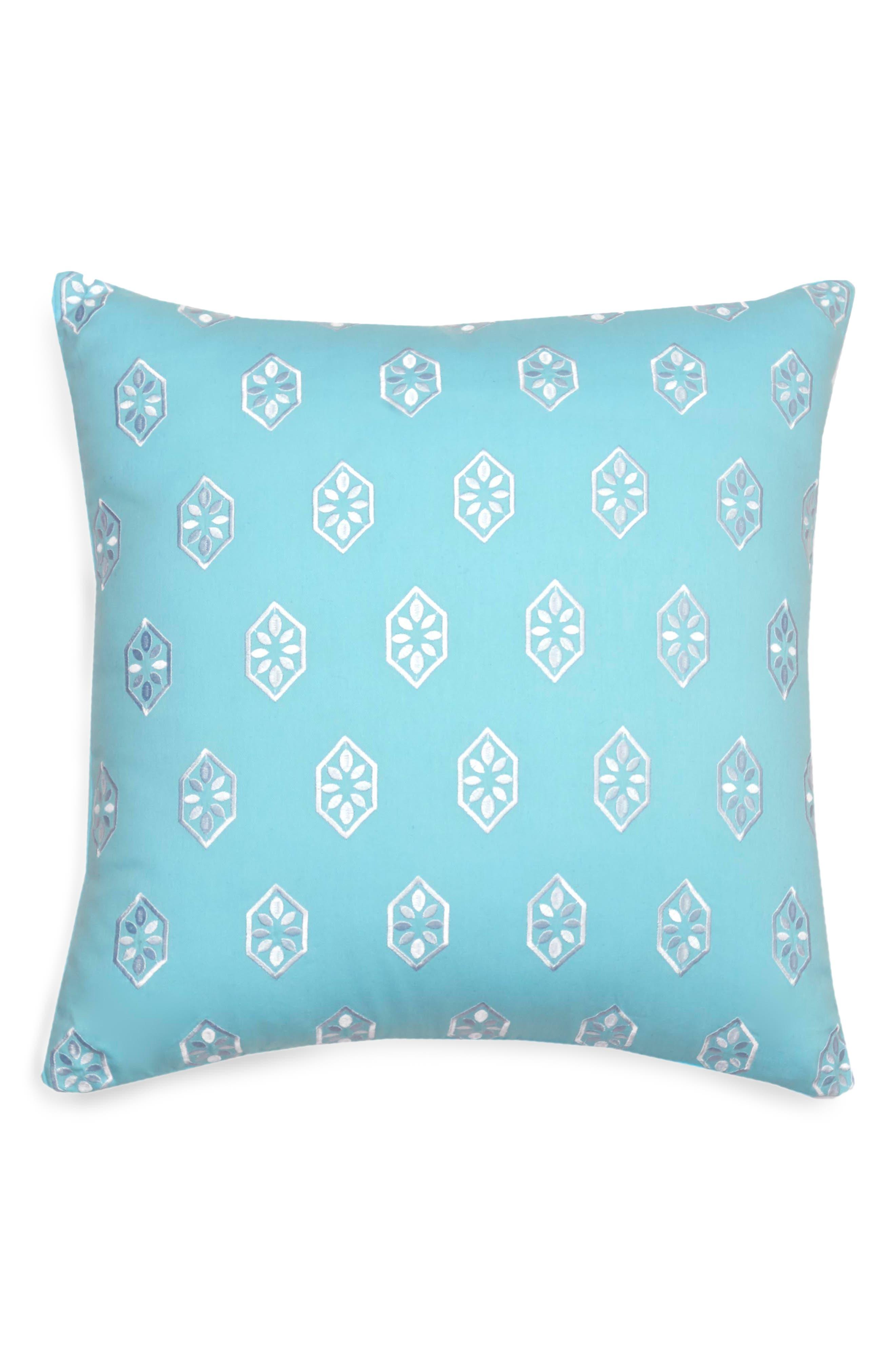 Summerville Embroidered Pillow,                         Main,                         color, Aqua
