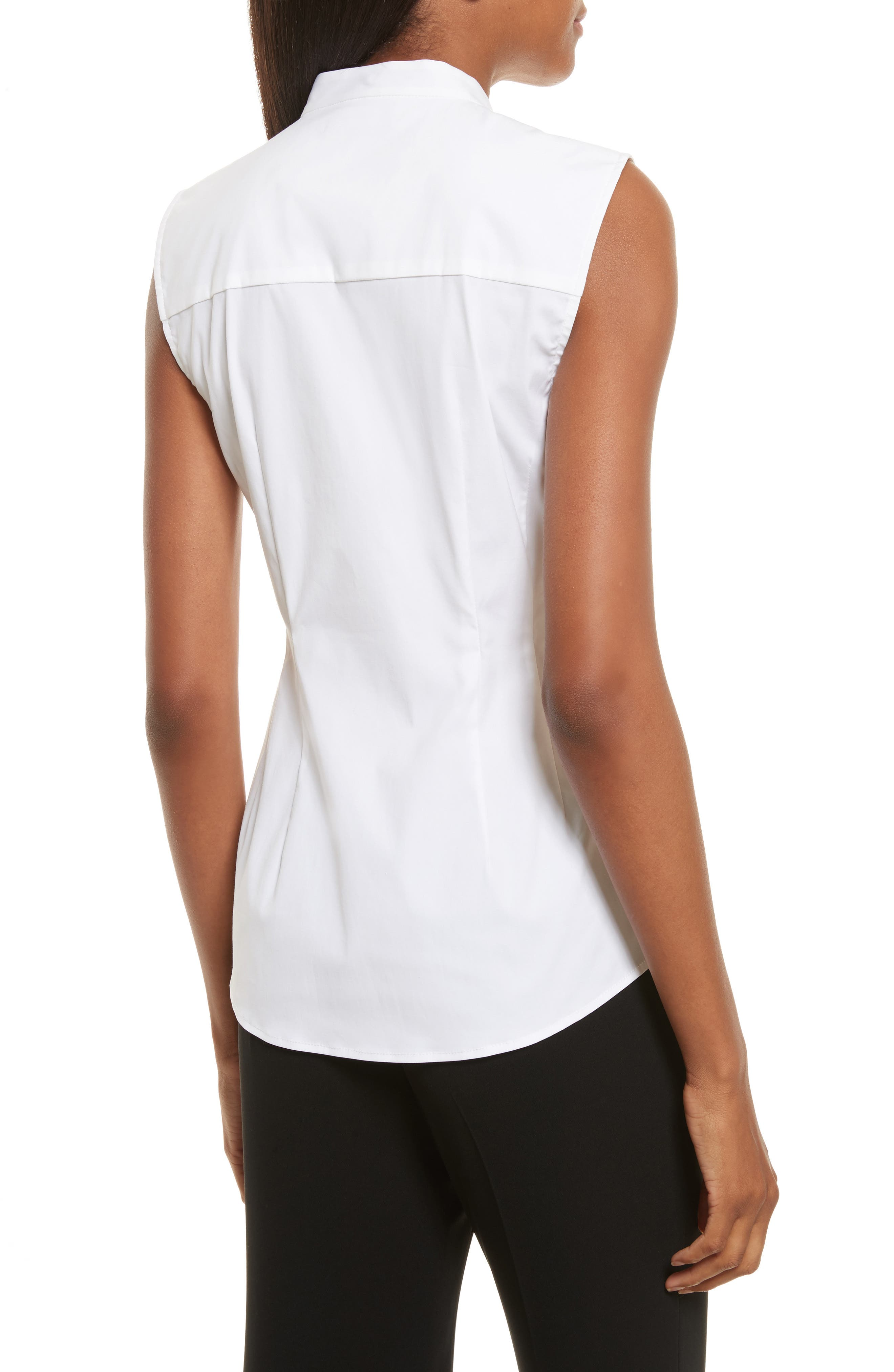 Ruched Fitted Stretch Cotton Blouse,                             Alternate thumbnail 2, color,                             White