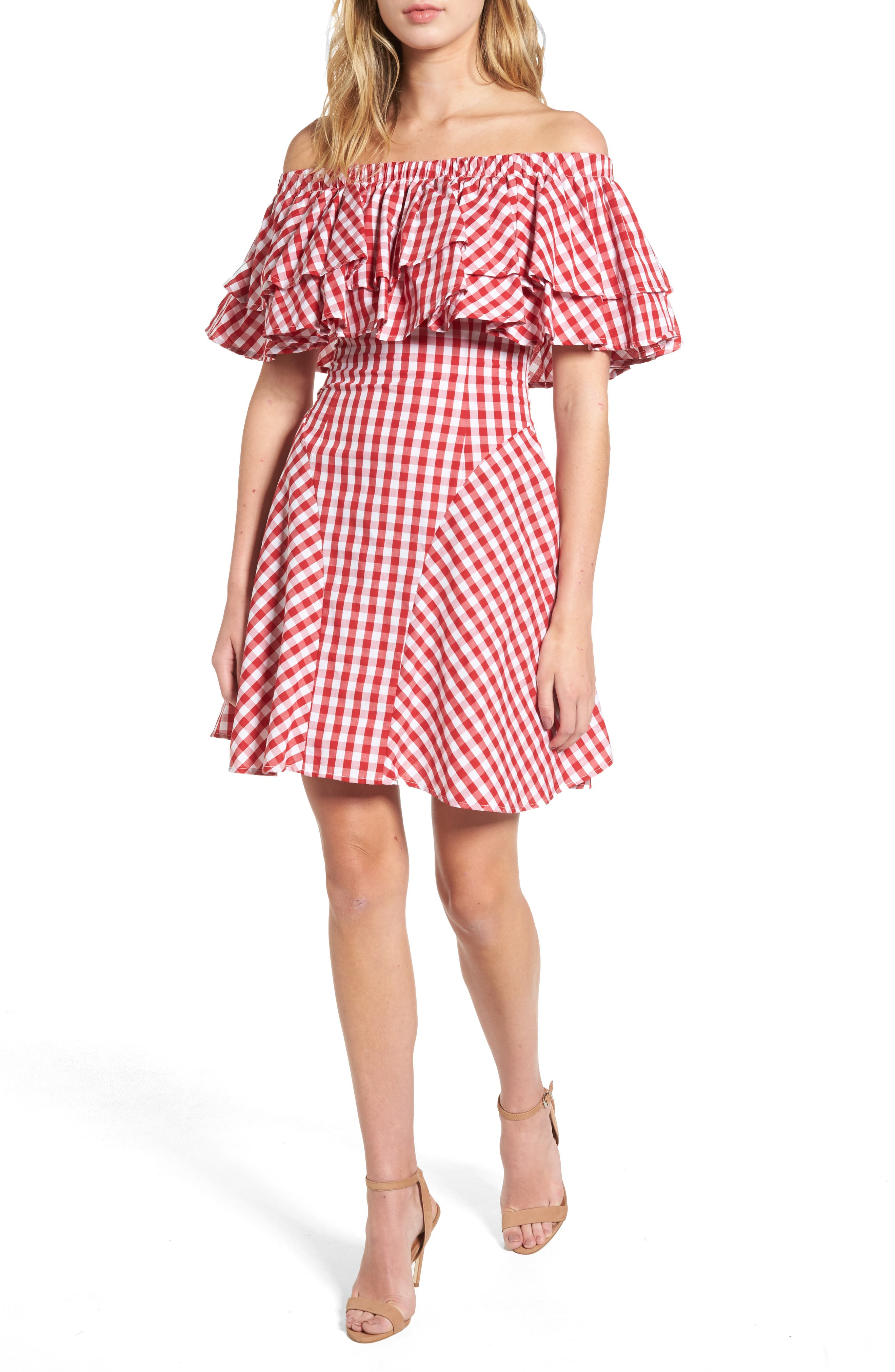 The Piper Ruffle A-Line Dress,                         Main,                         color, Checkered Red