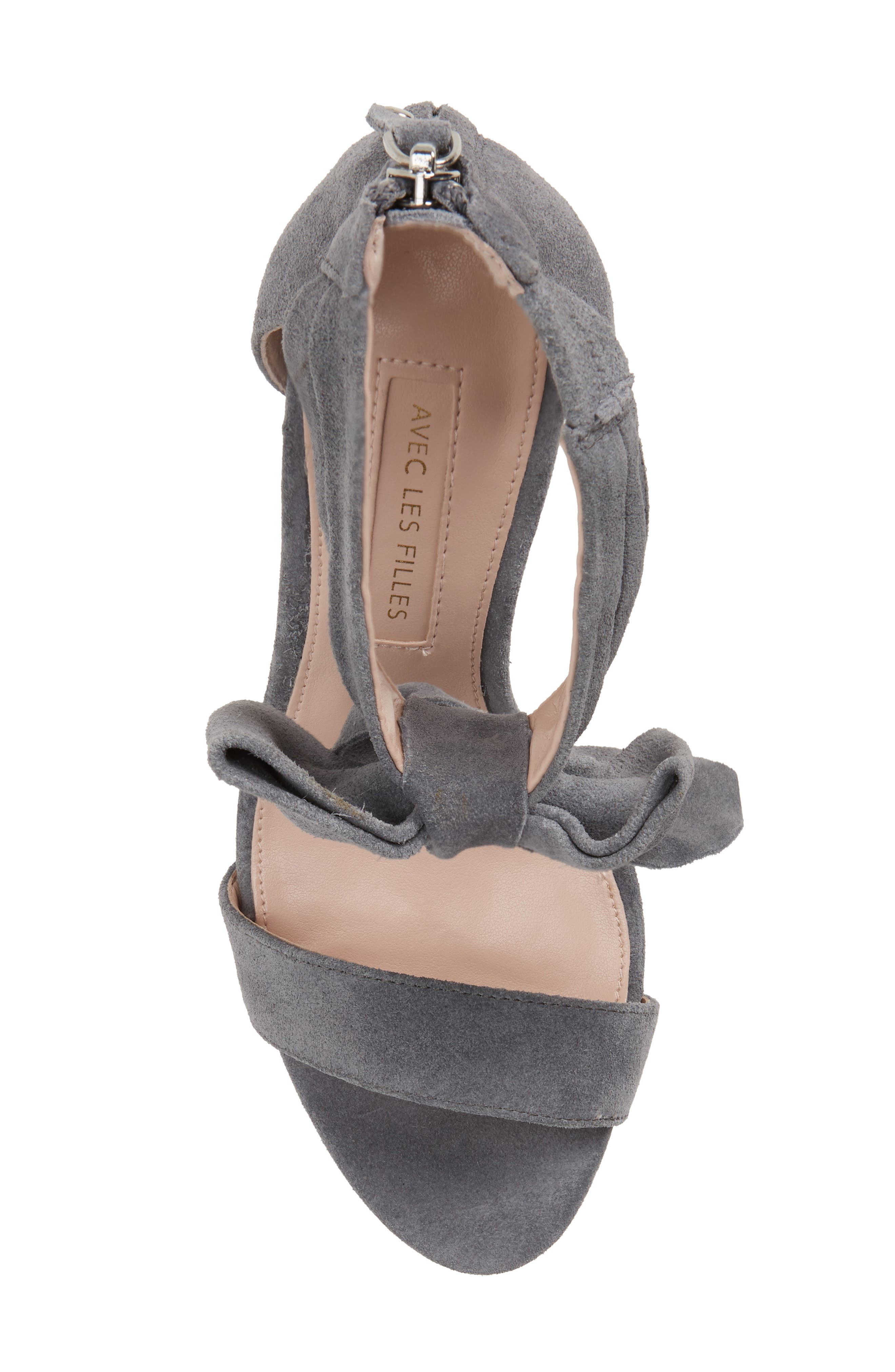 Jax Ankle Bow Pump,                             Alternate thumbnail 5, color,                             Grey Suede