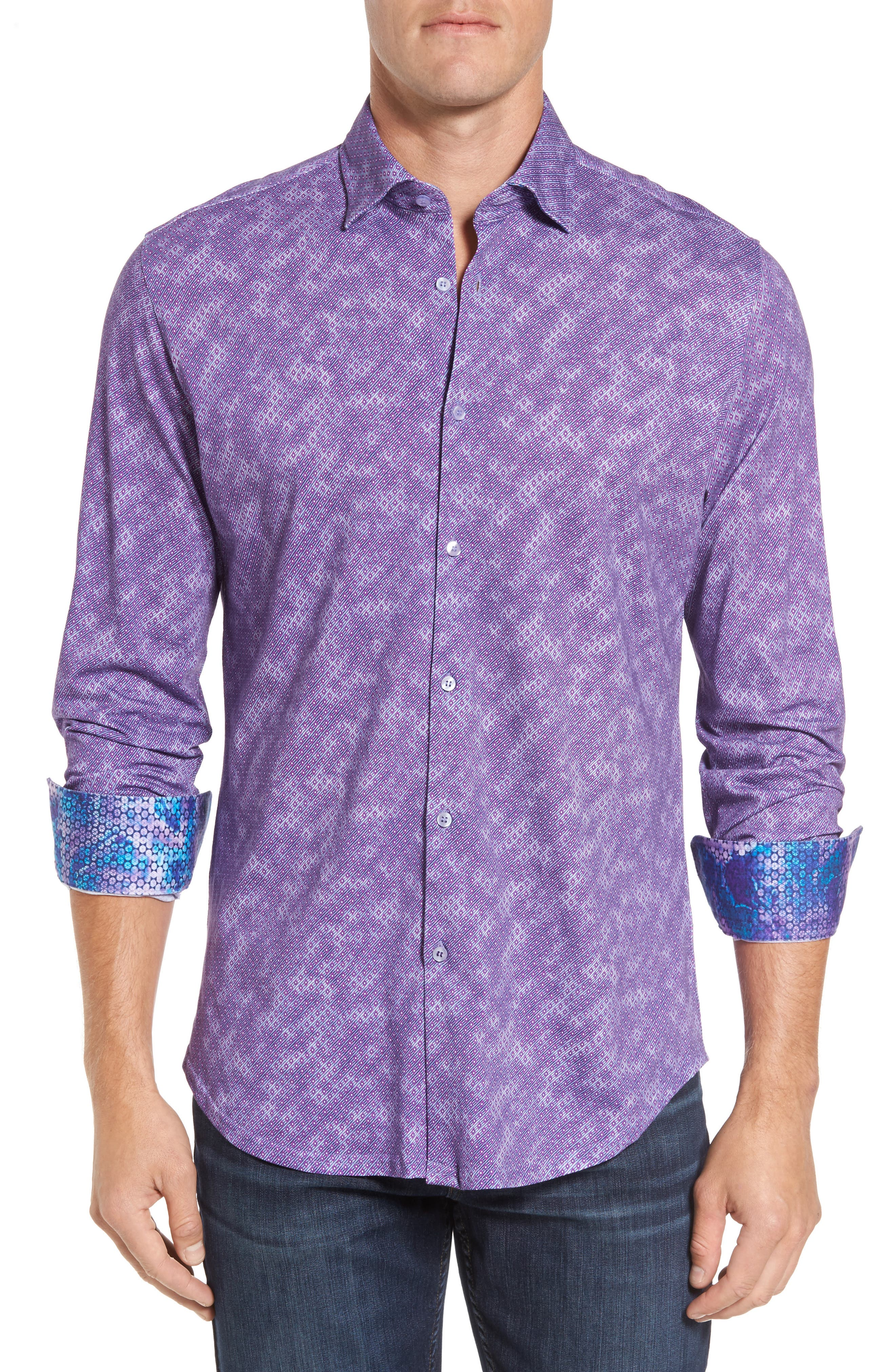 Alternate Image 1 Selected - Stone Rose Slim Fit Wavy Diamond Print Sport Shirt