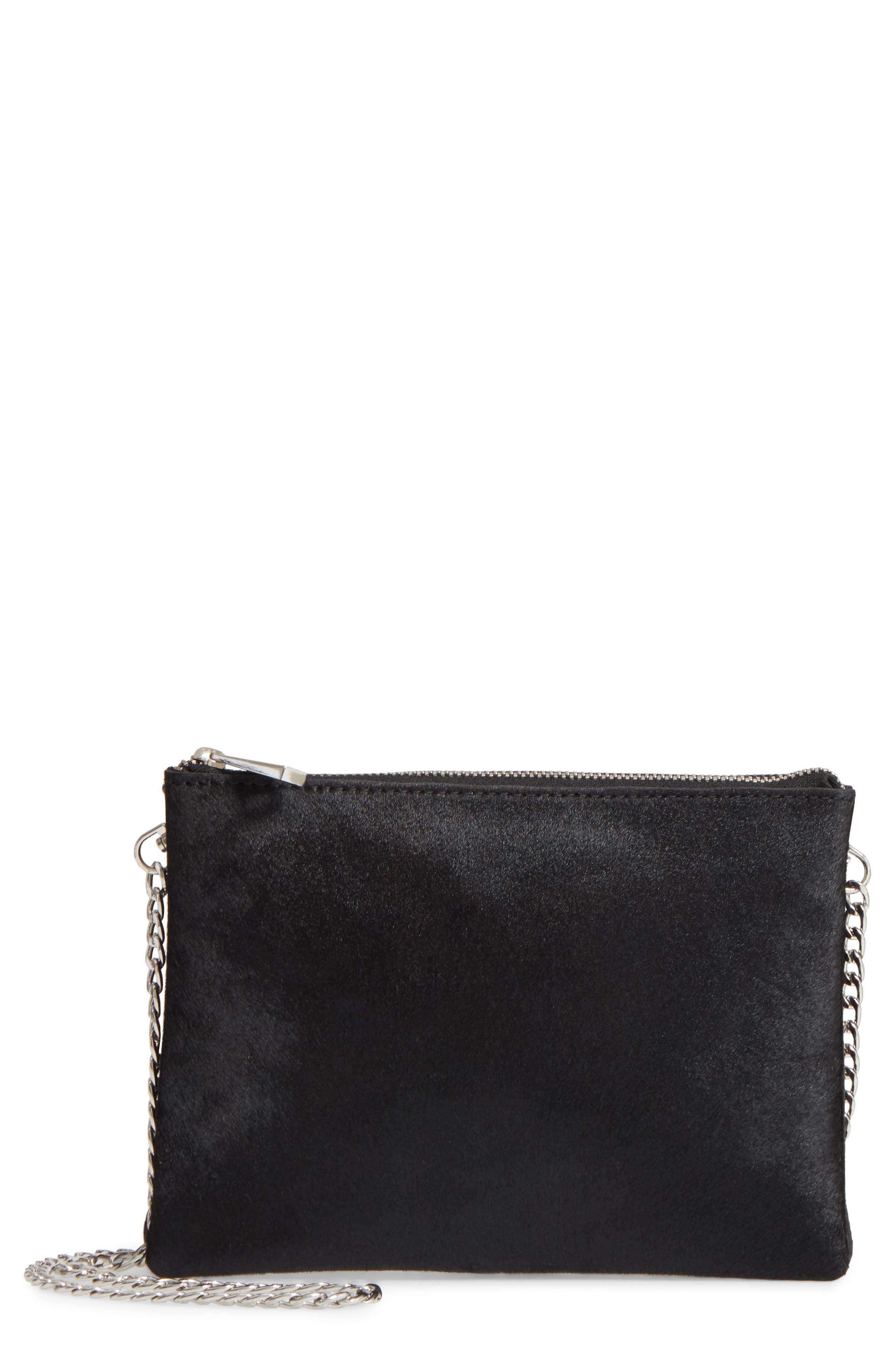 Topshop Oakley Leather & Genuine Calf Hair Crossbody Bag