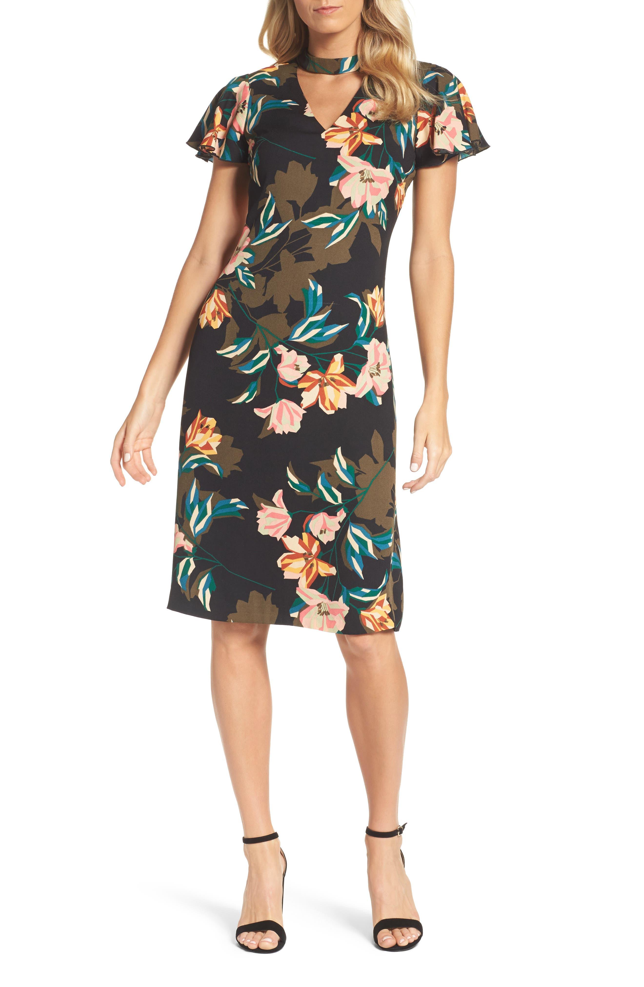 Julia Jordan Print Choker Collar Midi Dress