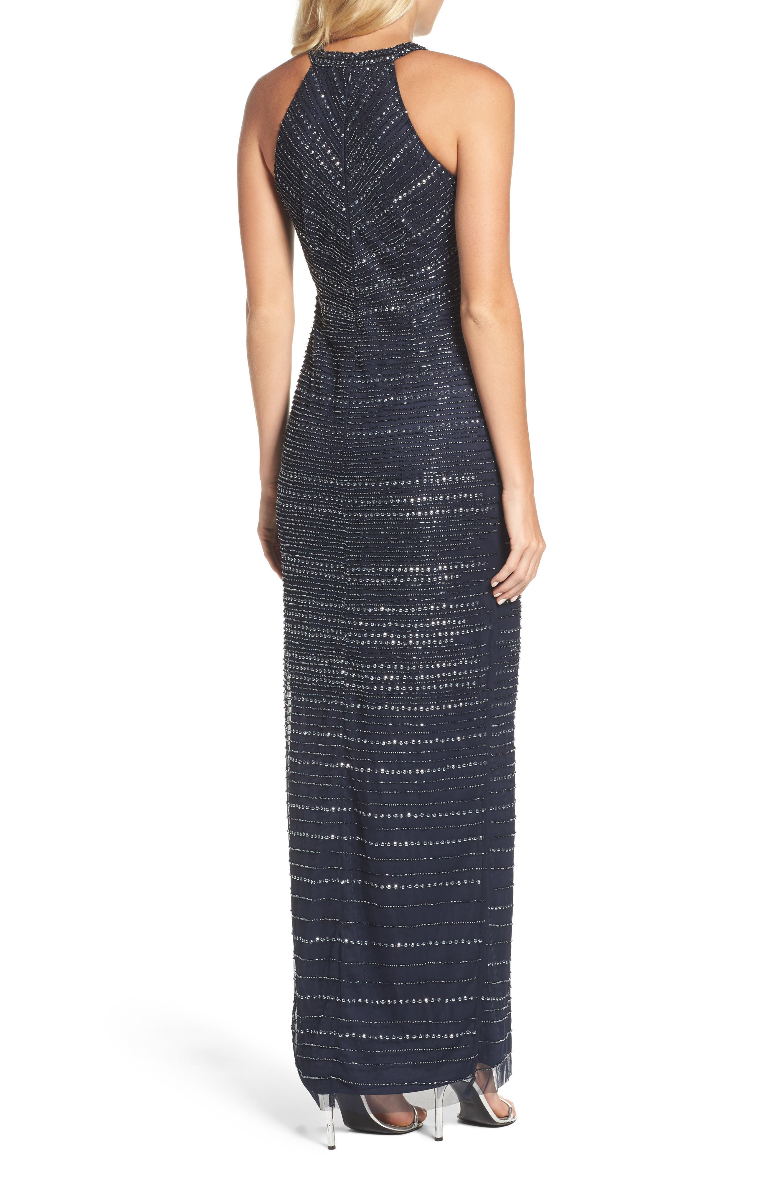 Alternate Image 2  - Adrianna Papell Beaded Halter Gown